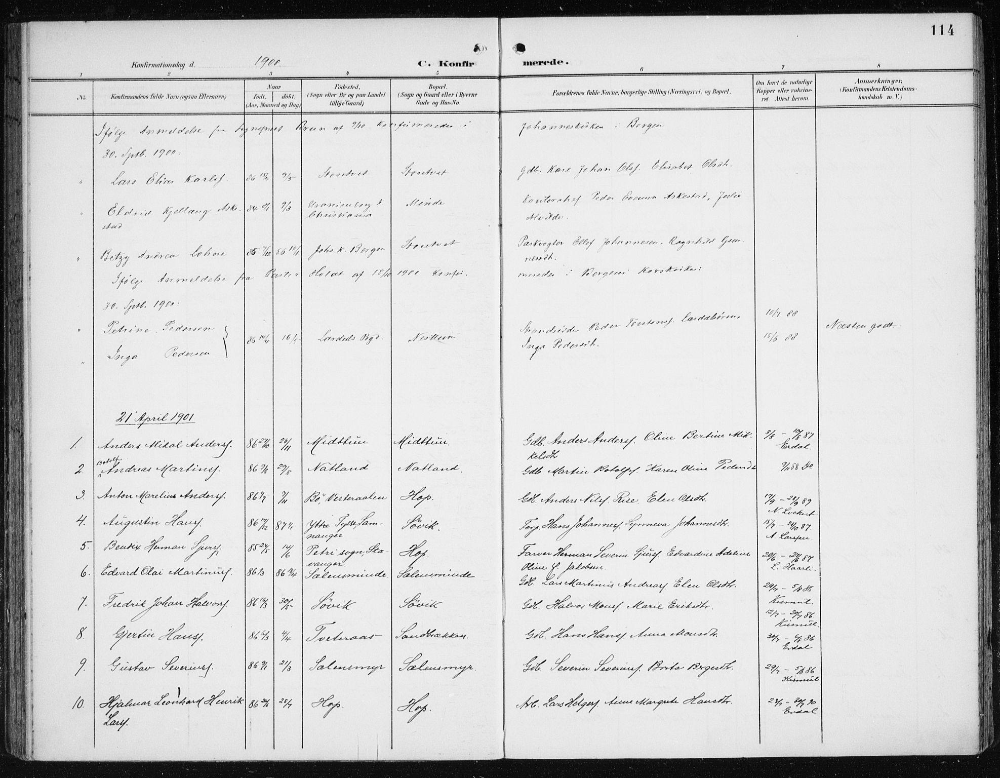 SAB, Fana Sokneprestembete, H/Haa/Haai/L0003: Ministerialbok nr. I 3, 1900-1912, s. 114