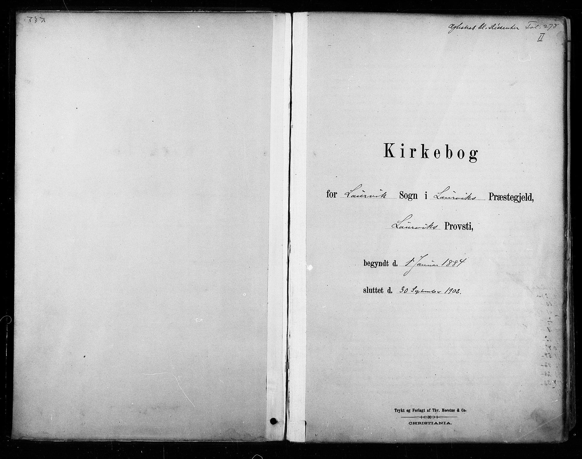 SAKO, Larvik kirkebøker, F/Fa/L0008: Ministerialbok nr. I 8, 1884-1902