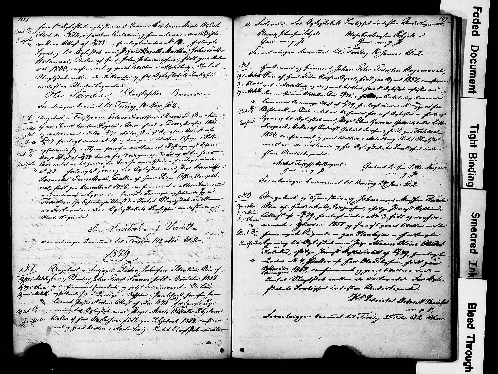 SAT, Ministerialprotokoller, klokkerbøker og fødselsregistre - Nord-Trøndelag, 717/L0161: Forlovererklæringer nr. 717A11, 1850-1895, s. 109