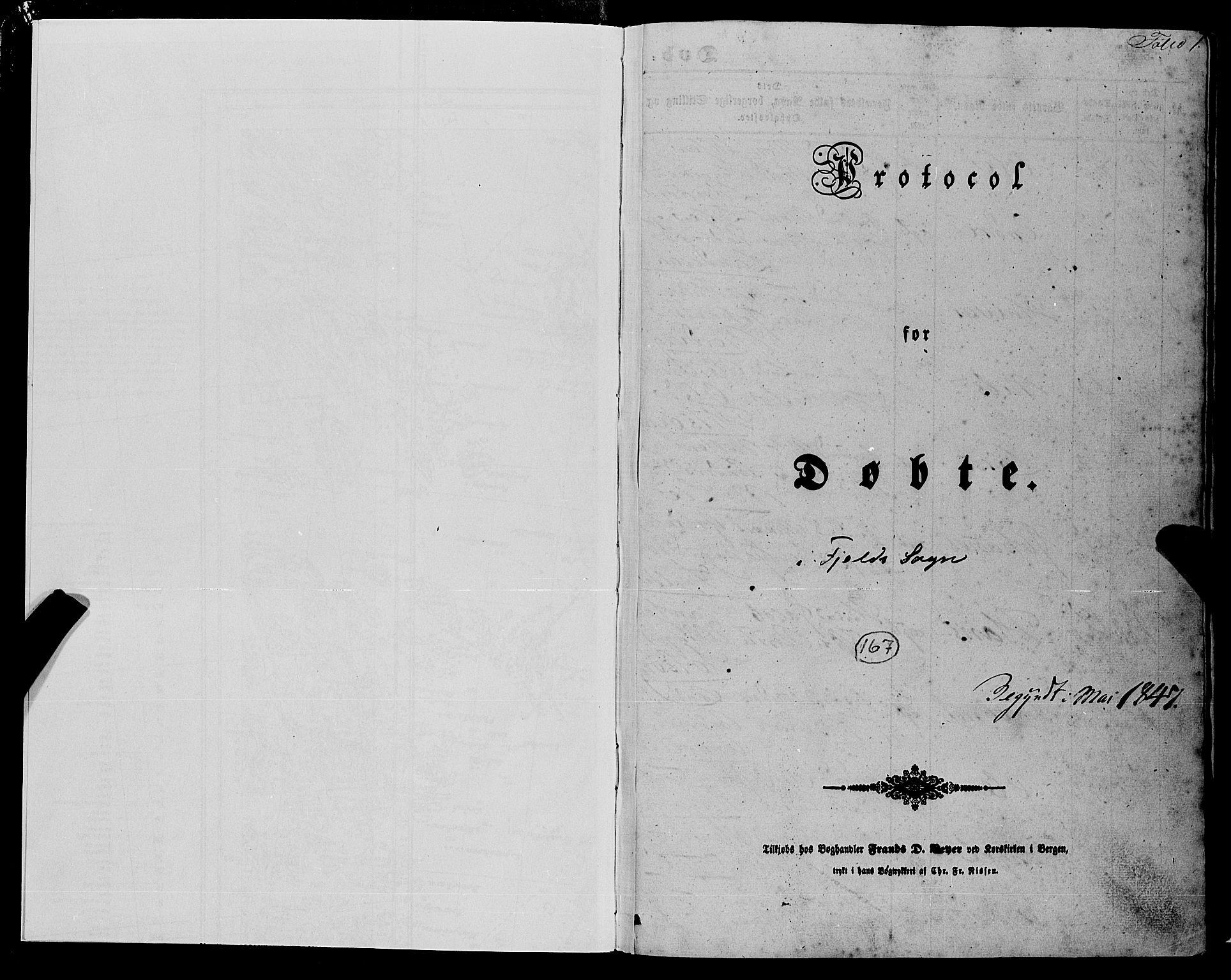 SAB, Fjell sokneprestembete, H/Haa: Ministerialbok nr. A 2, 1847-1864, s. 1