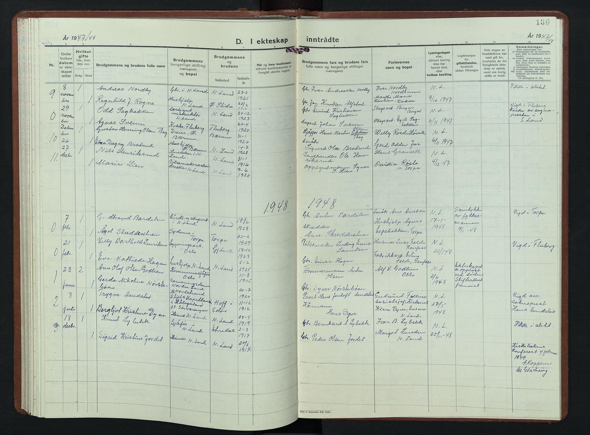 SAH, Nordre Land prestekontor, Klokkerbok nr. 7, 1930-1953, s. 130
