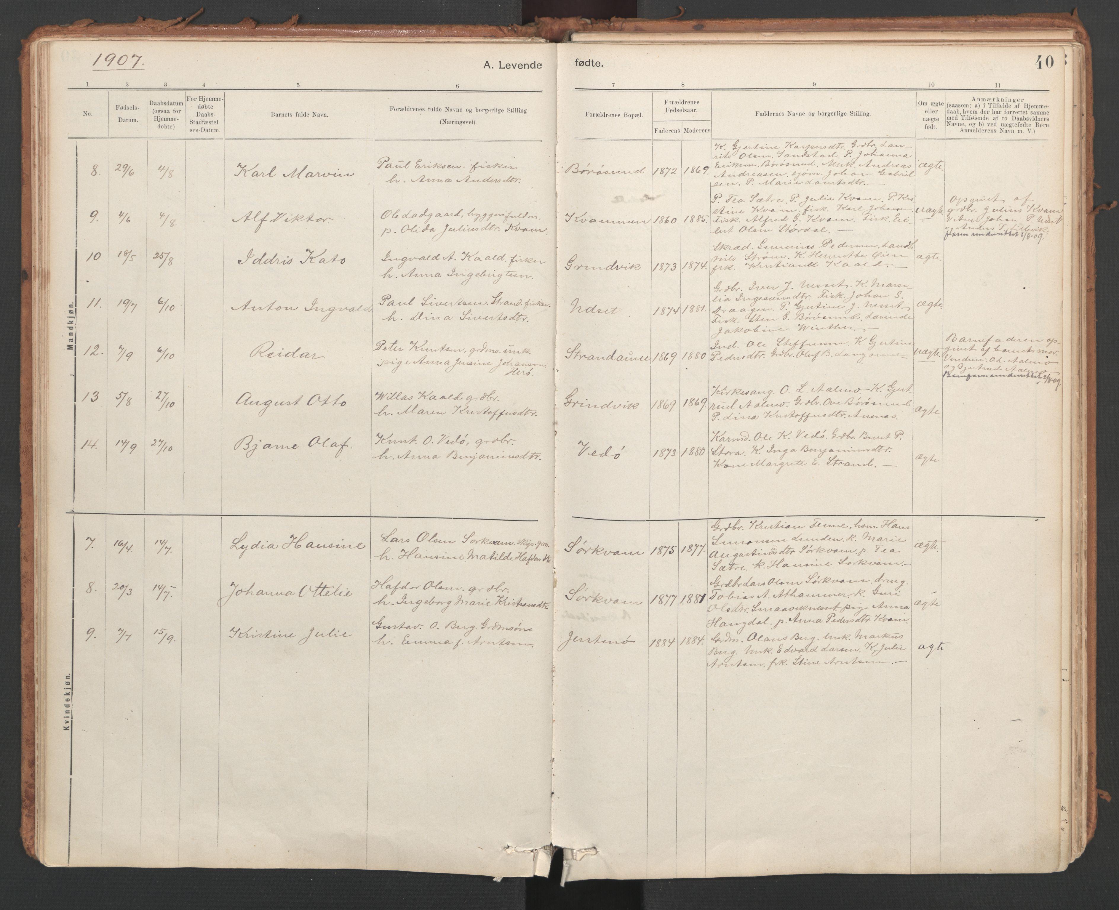 SAT, Ministerialprotokoller, klokkerbøker og fødselsregistre - Sør-Trøndelag, 639/L0572: Ministerialbok nr. 639A01, 1890-1920, s. 40