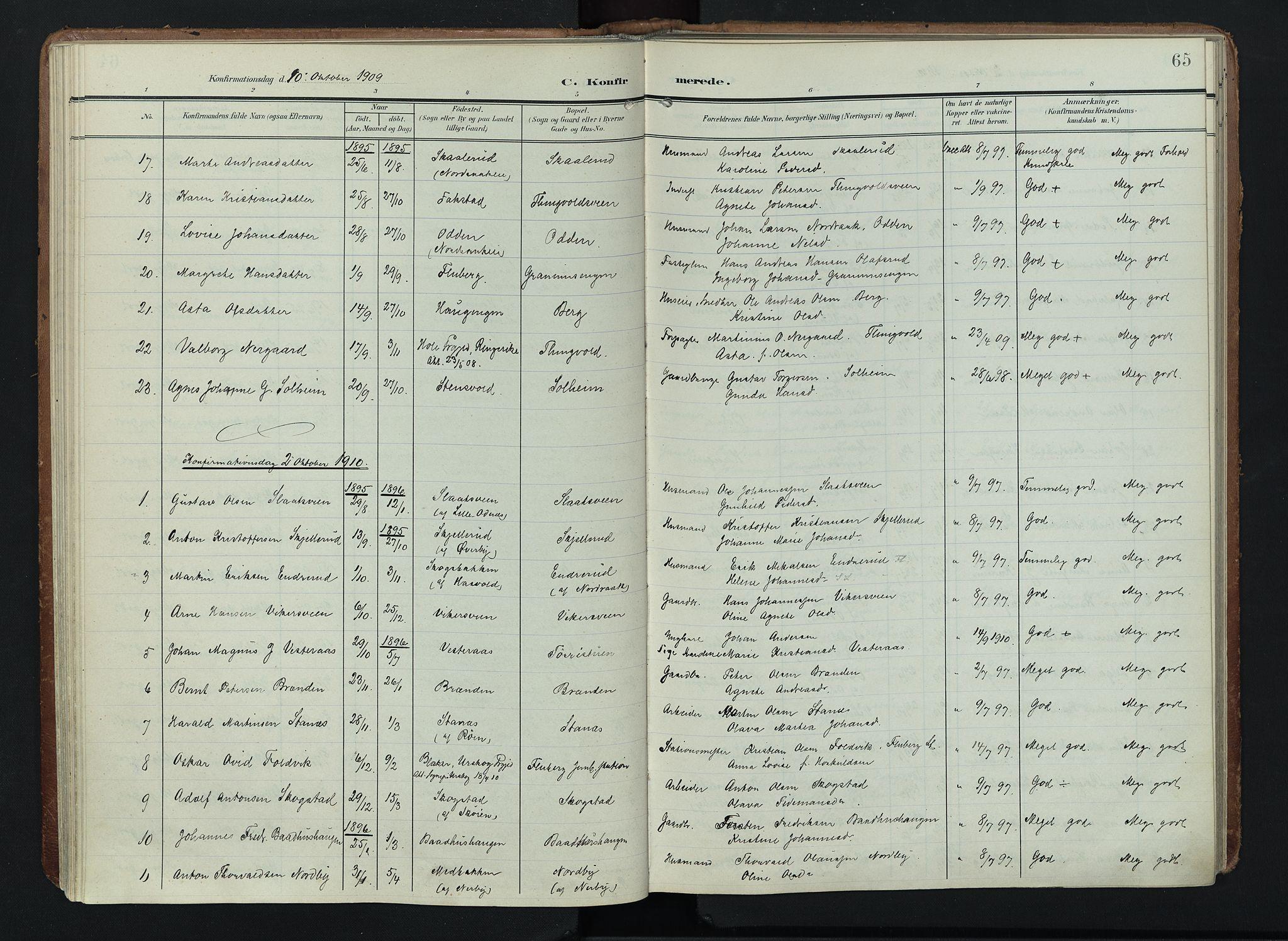 SAH, Søndre Land prestekontor, K/L0005: Ministerialbok nr. 5, 1905-1914, s. 65