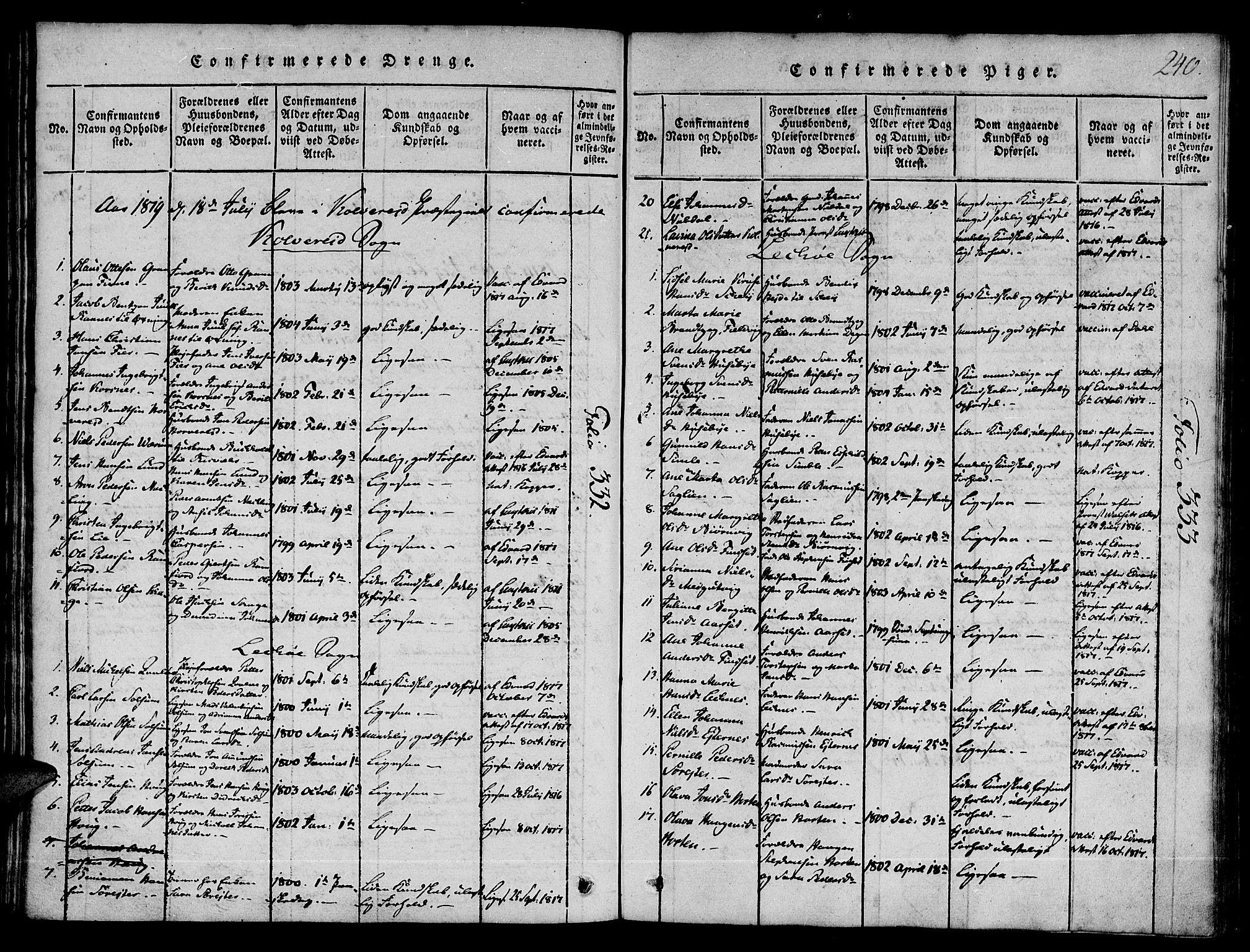 SAT, Ministerialprotokoller, klokkerbøker og fødselsregistre - Nord-Trøndelag, 780/L0636: Ministerialbok nr. 780A03 /1, 1815-1830, s. 240