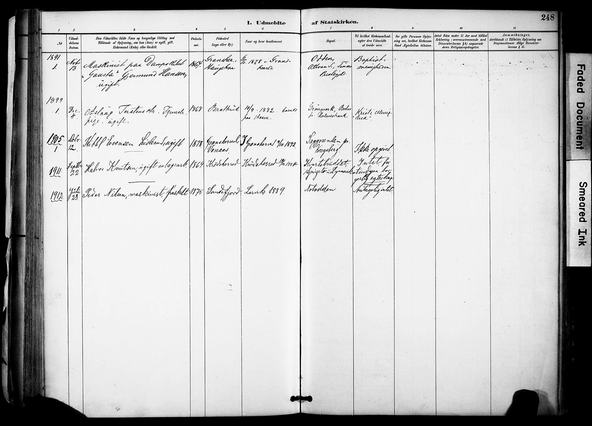 SAKO, Gransherad kirkebøker, F/Fa/L0005: Ministerialbok nr. I 5, 1887-1916, s. 248