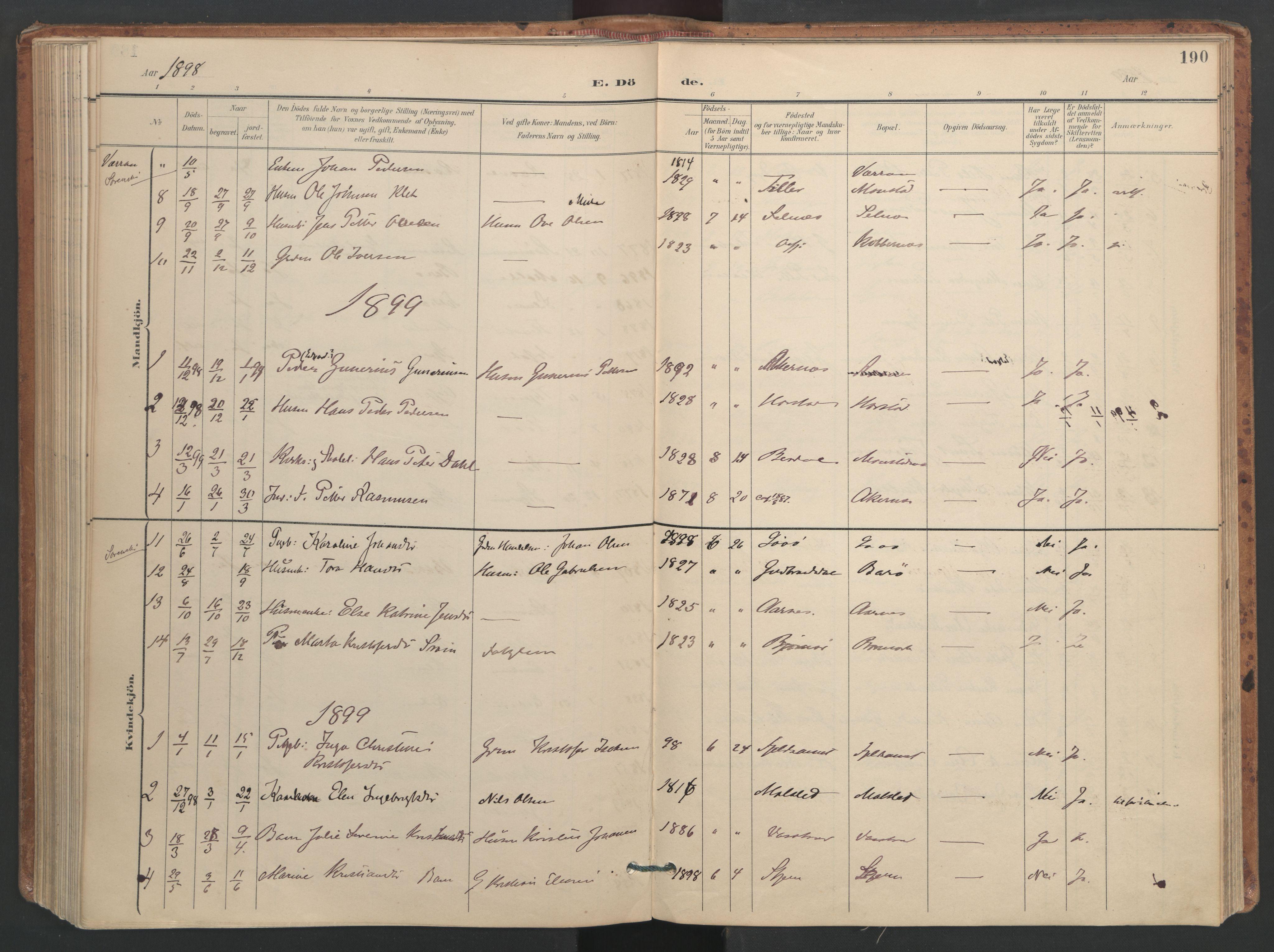 SAT, Ministerialprotokoller, klokkerbøker og fødselsregistre - Sør-Trøndelag, 655/L0681: Ministerialbok nr. 655A10, 1895-1907, s. 190