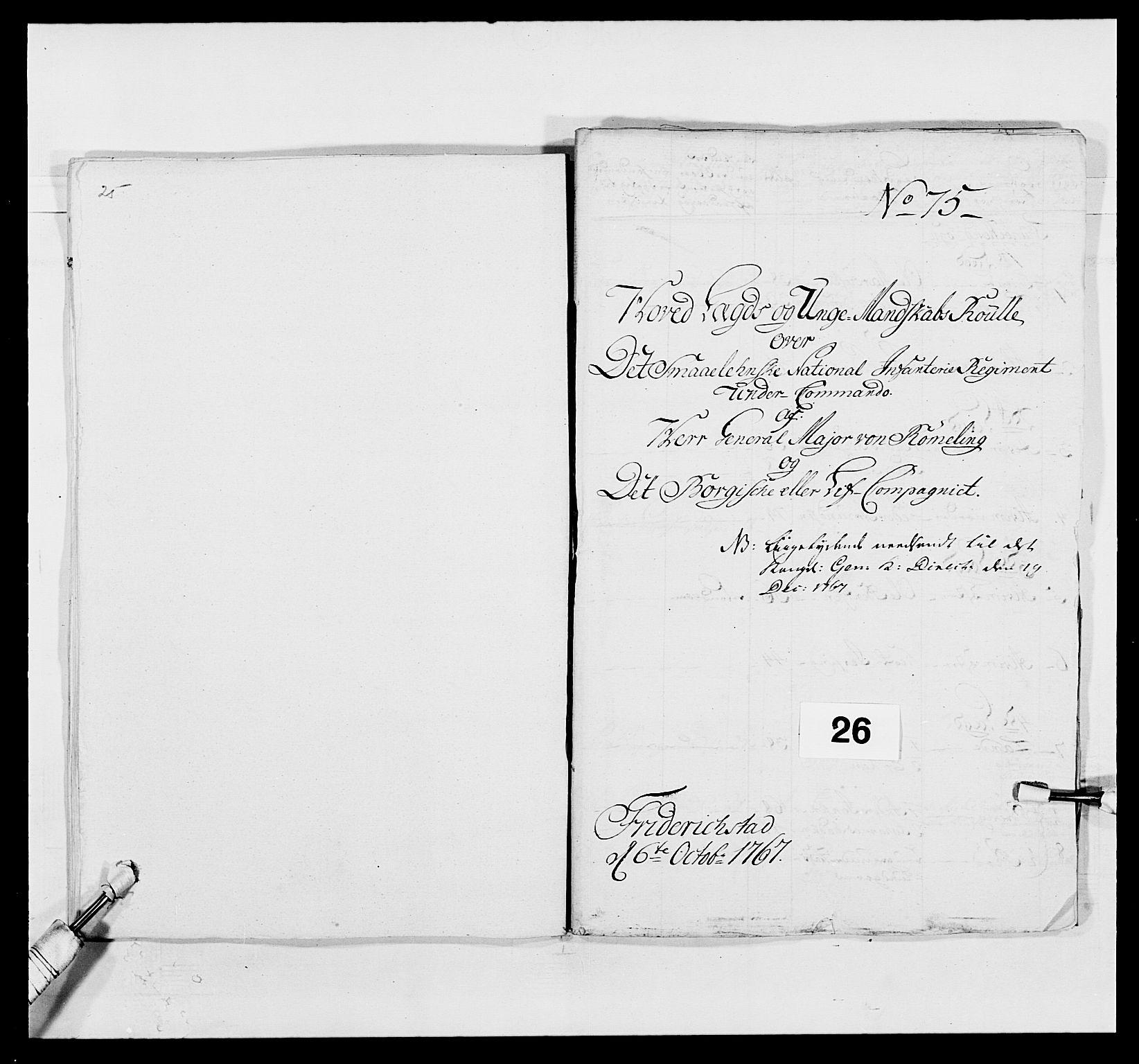RA, Kommanderende general (KG I) med Det norske krigsdirektorium, E/Ea/L0496: 1. Smålenske regiment, 1765-1767, s. 481