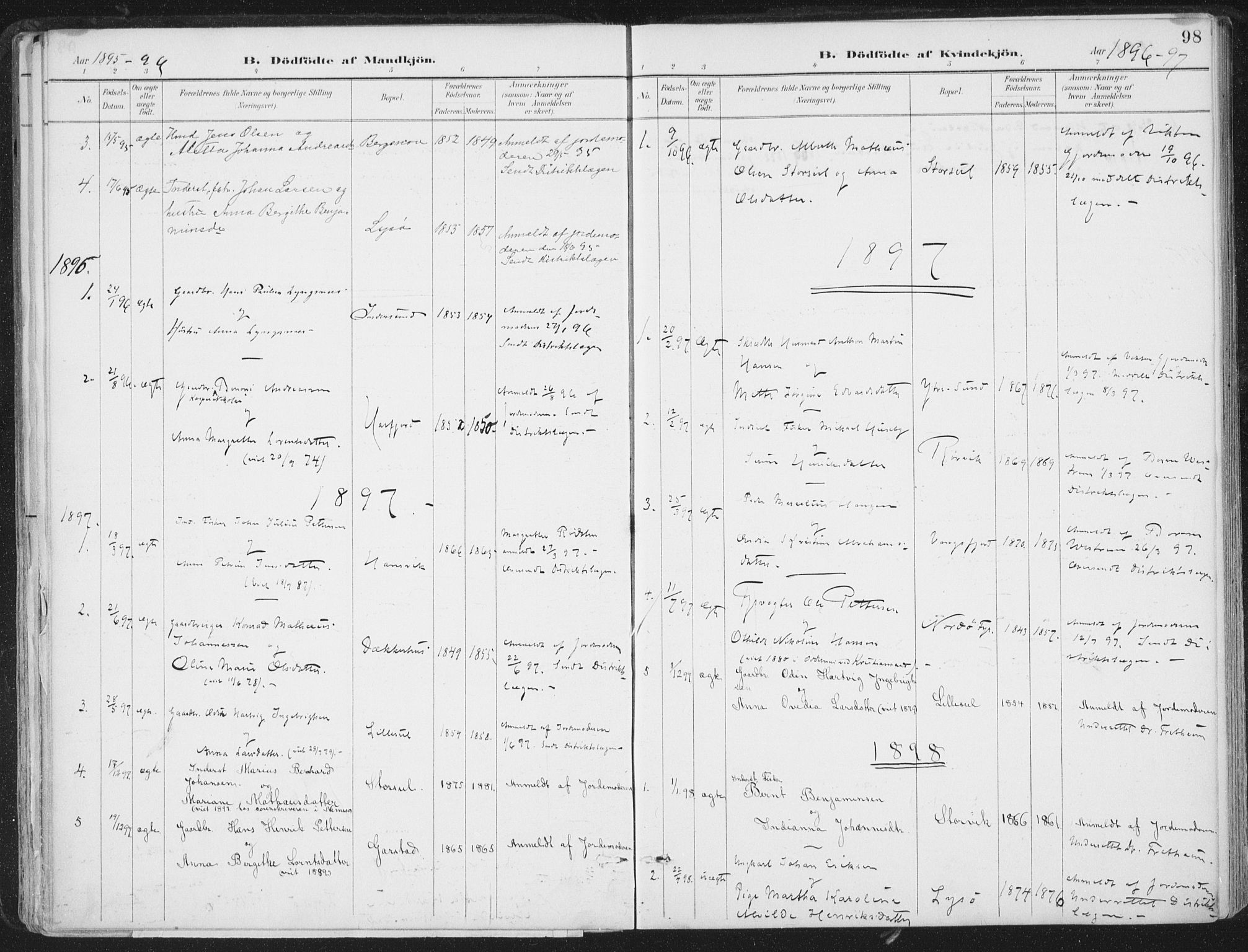 SAT, Ministerialprotokoller, klokkerbøker og fødselsregistre - Nord-Trøndelag, 786/L0687: Ministerialbok nr. 786A03, 1888-1898, s. 98