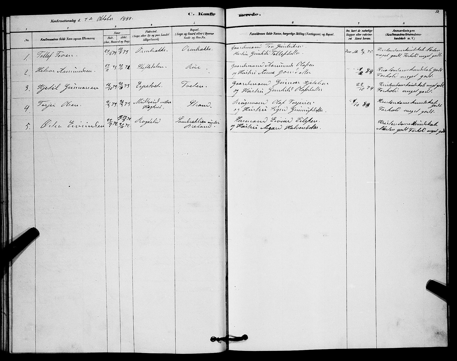 SAKO, Lårdal kirkebøker, G/Gc/L0003: Klokkerbok nr. III 3, 1878-1890, s. 50