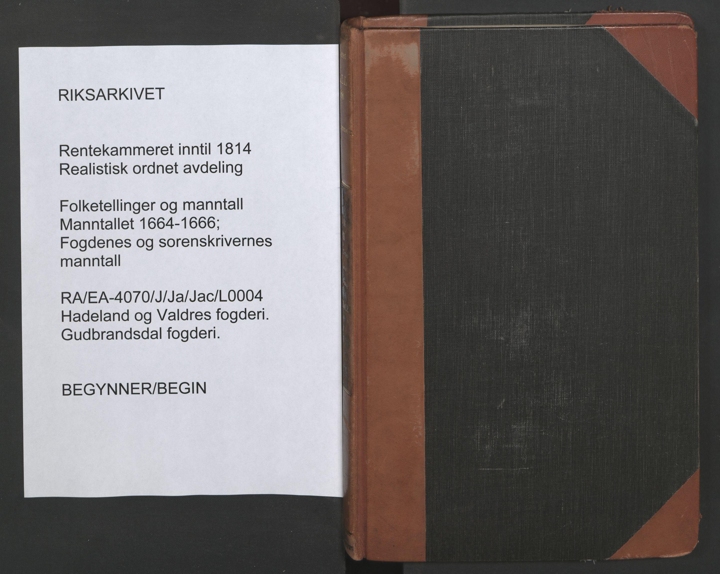 RA, Fogdenes og sorenskrivernes manntall 1664-1666, nr. 4: Hadeland og Valdres fogderi og Gudbrandsdal fogderi, 1664