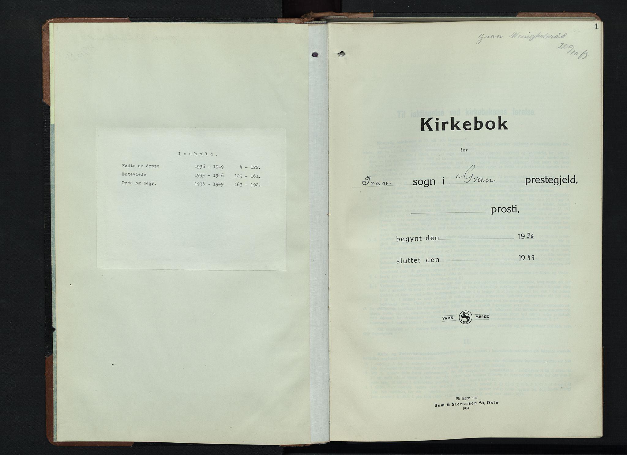 SAH, Gran prestekontor, Klokkerbok nr. 9, 1933-1950, s. 1