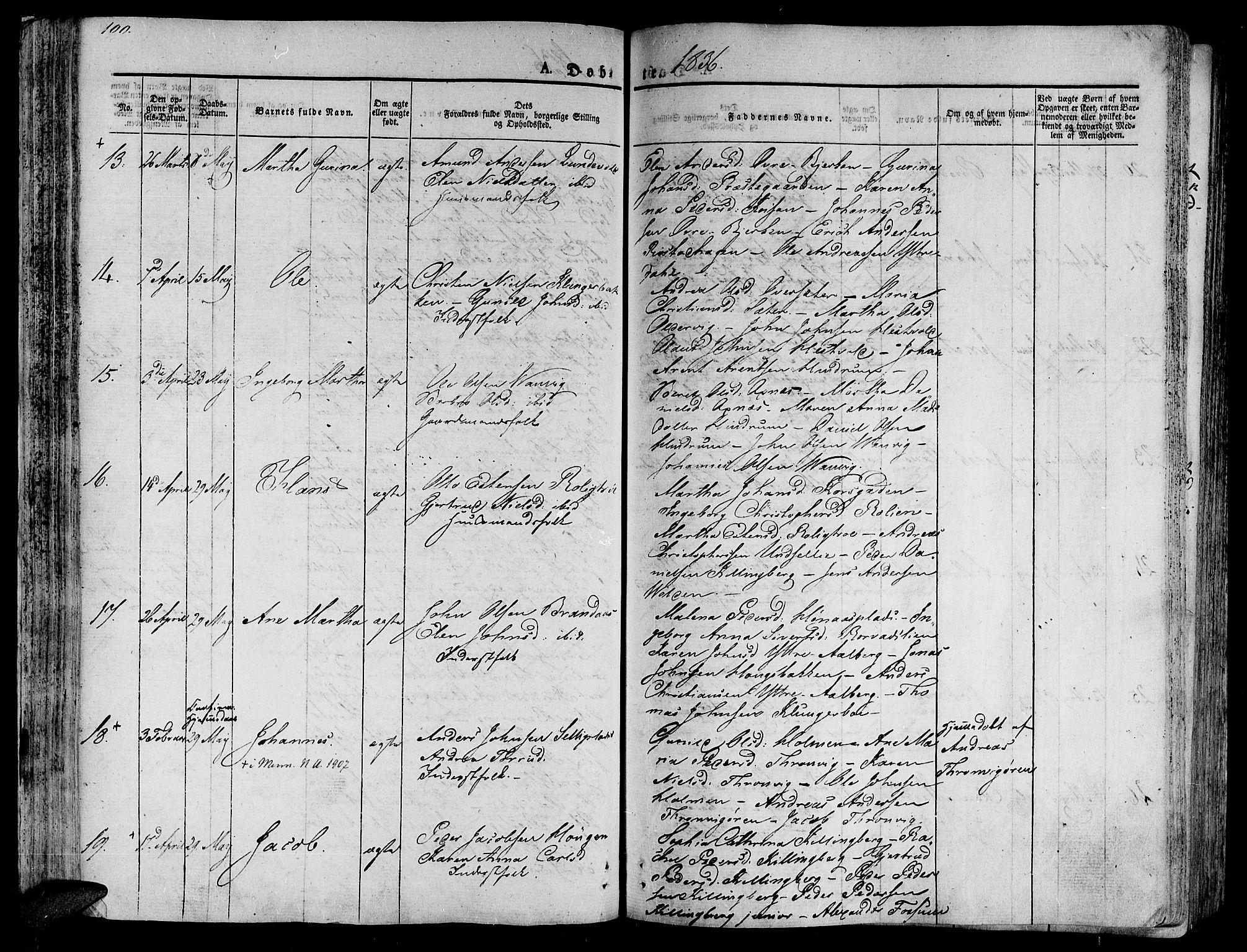 SAT, Ministerialprotokoller, klokkerbøker og fødselsregistre - Nord-Trøndelag, 701/L0006: Ministerialbok nr. 701A06, 1825-1841, s. 100
