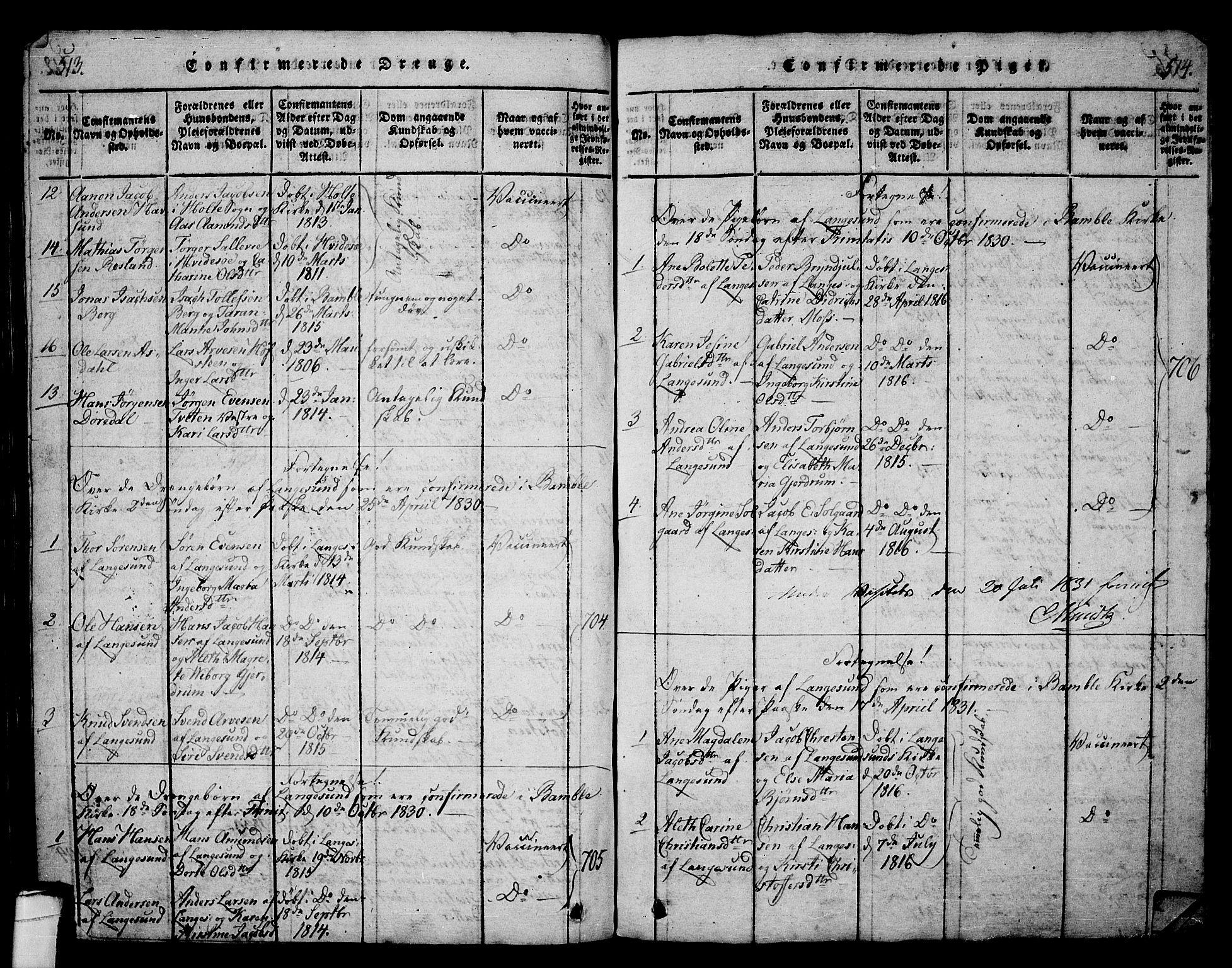 SAKO, Langesund kirkebøker, G/Ga/L0003: Klokkerbok nr. 3, 1815-1858, s. 513-514