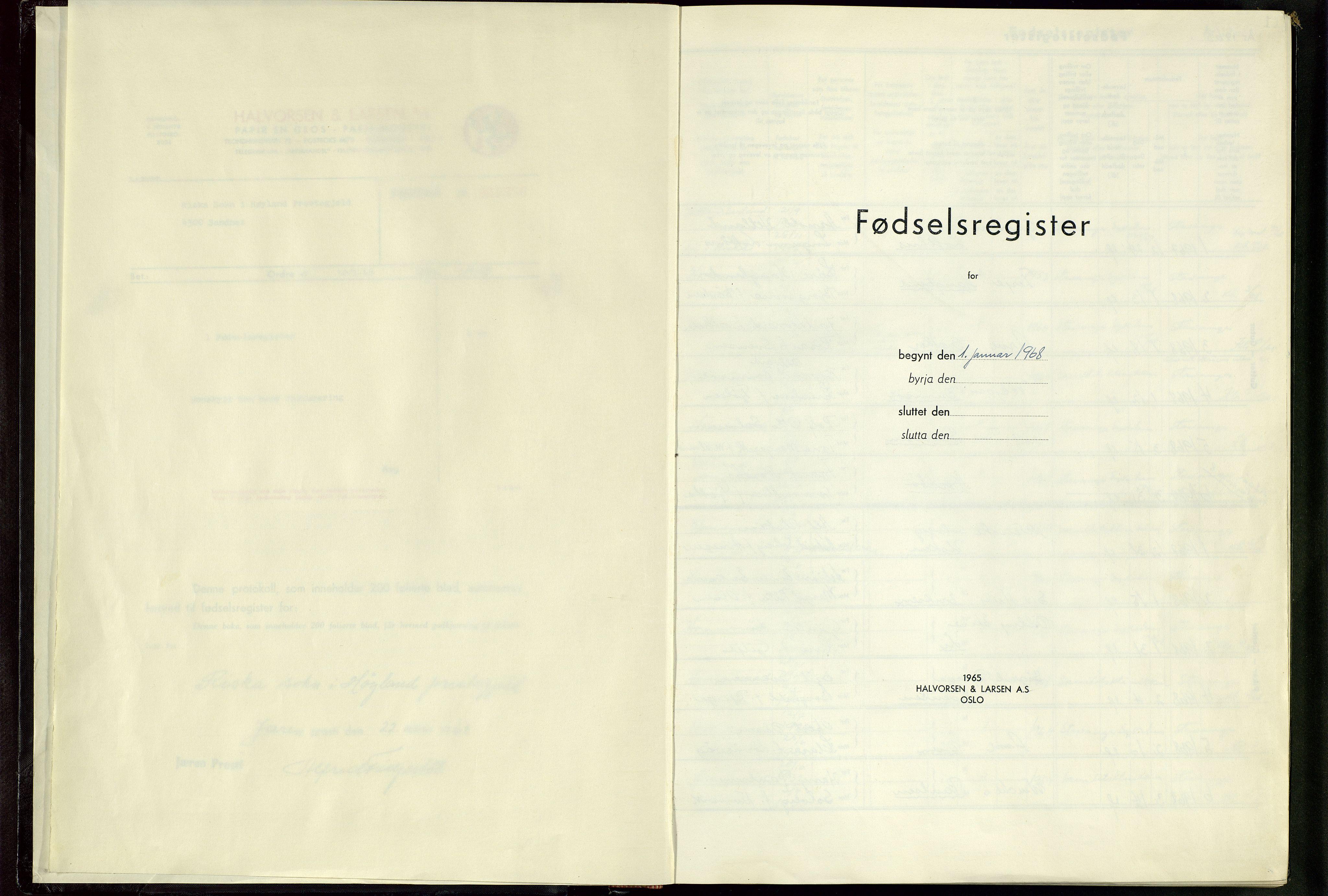 SAST, Høyland sokneprestkontor, 704BA/L0001: Fødselsregister nr. 1, 1968-1982