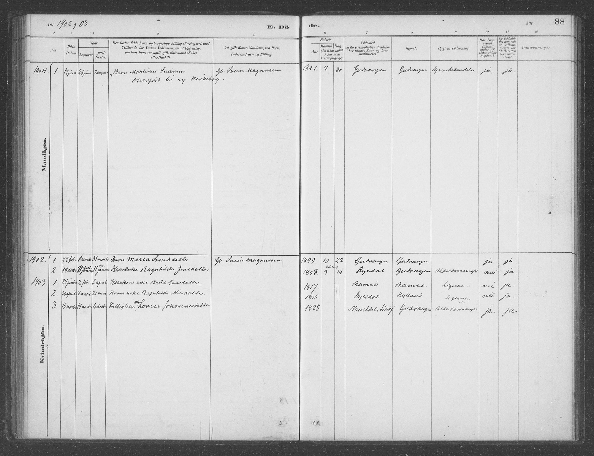 SAB, Aurland sokneprestembete, H/Ha/Had/L0001: Ministerialbok nr. D  1, 1880-1903, s. 88