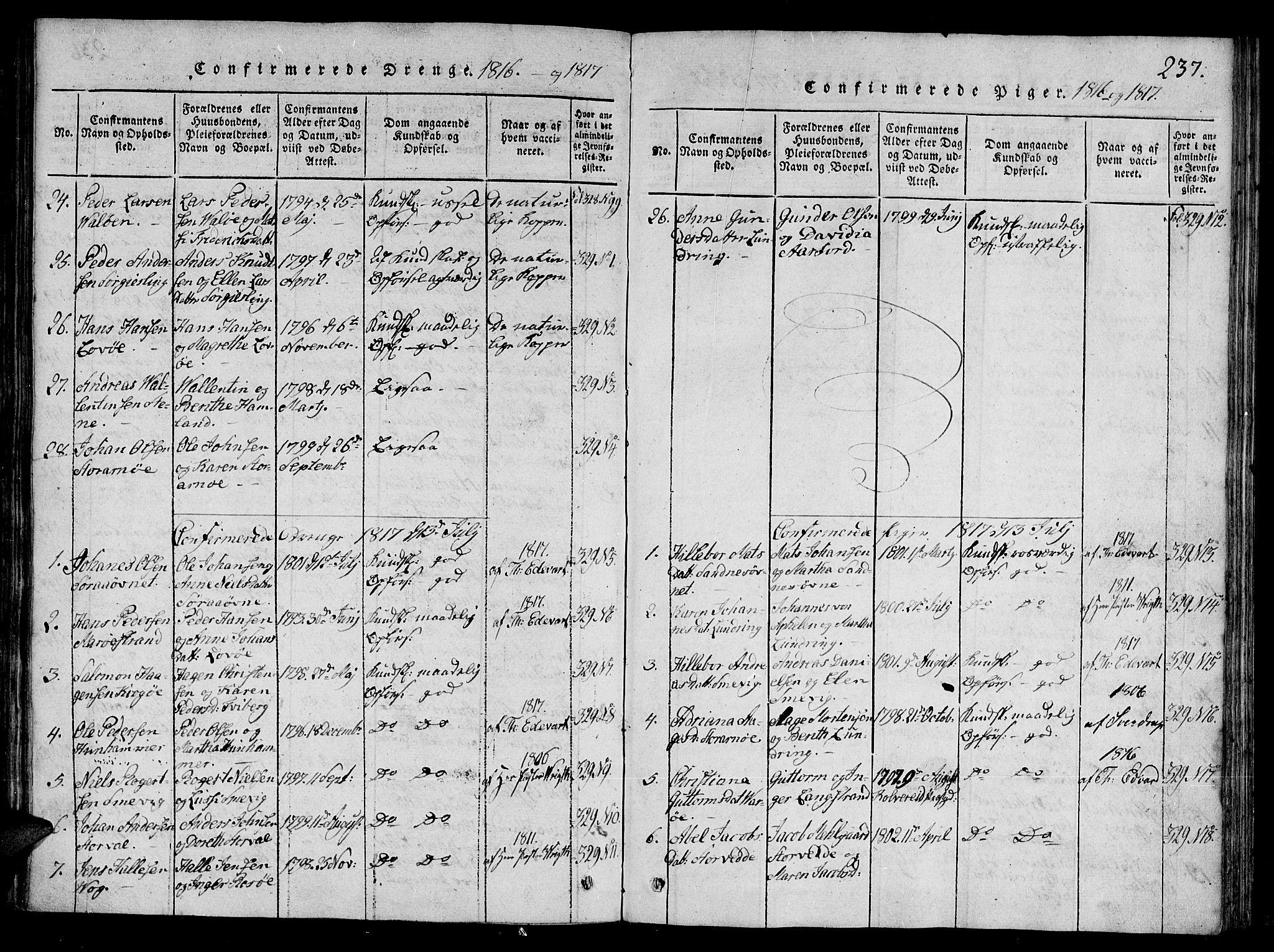 SAT, Ministerialprotokoller, klokkerbøker og fødselsregistre - Nord-Trøndelag, 784/L0667: Ministerialbok nr. 784A03 /1, 1816-1829, s. 237