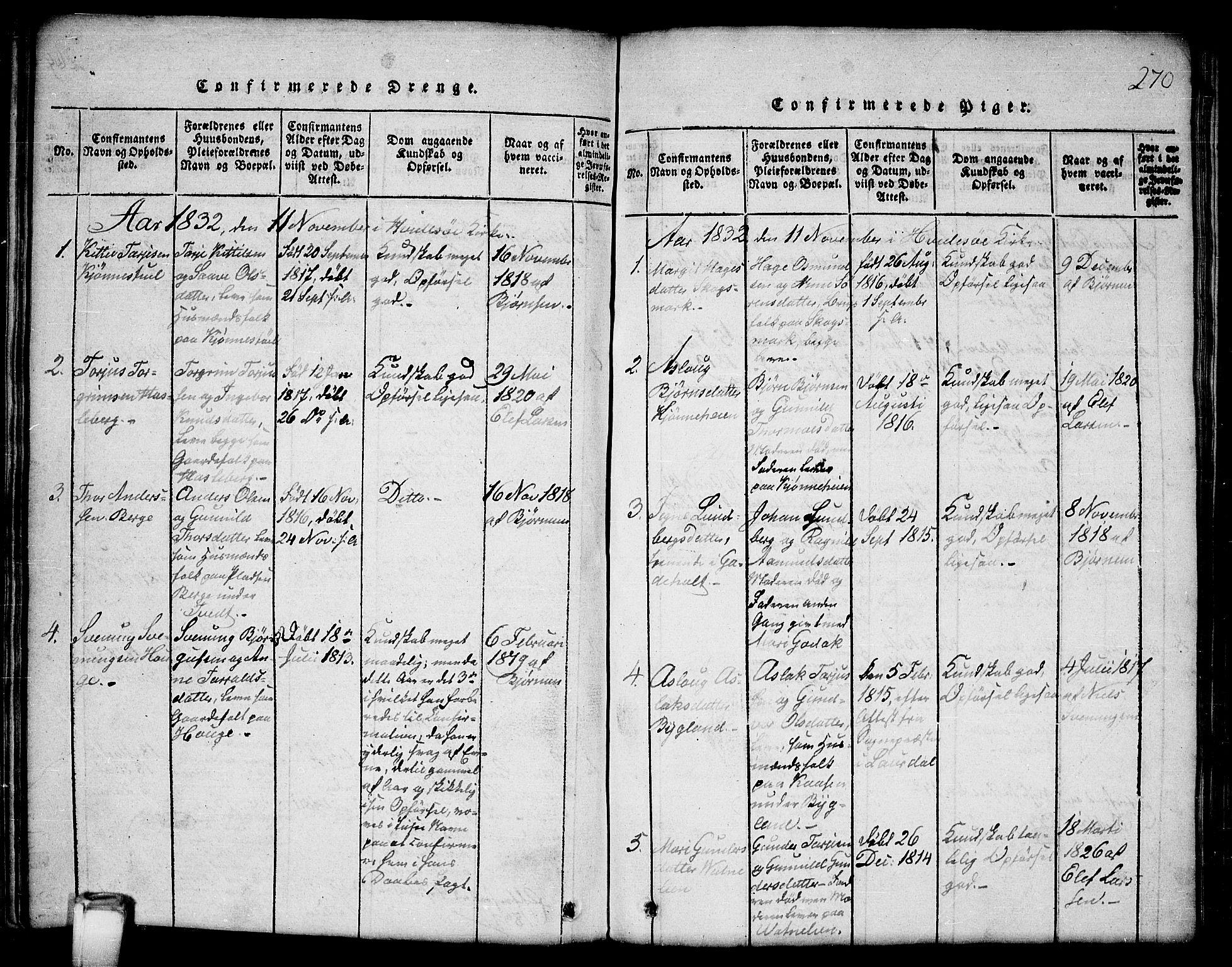 SAKO, Kviteseid kirkebøker, G/Gb/L0001: Klokkerbok nr. II 1, 1815-1842, s. 270