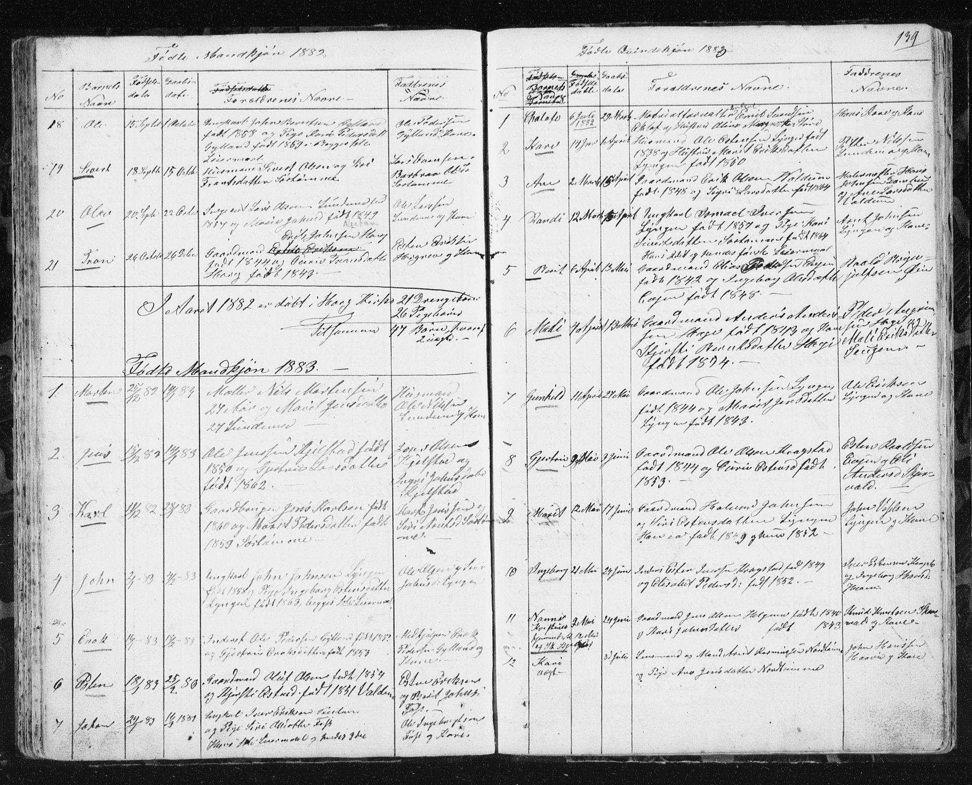 SAT, Ministerialprotokoller, klokkerbøker og fødselsregistre - Sør-Trøndelag, 692/L1110: Klokkerbok nr. 692C05, 1849-1889, s. 139