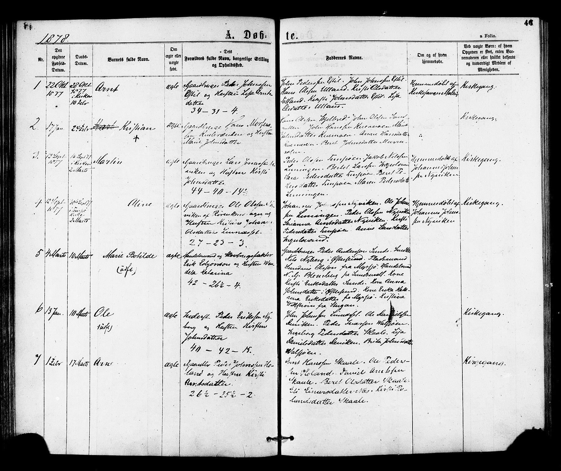 SAT, Ministerialprotokoller, klokkerbøker og fødselsregistre - Nord-Trøndelag, 755/L0493: Ministerialbok nr. 755A02, 1865-1881, s. 46