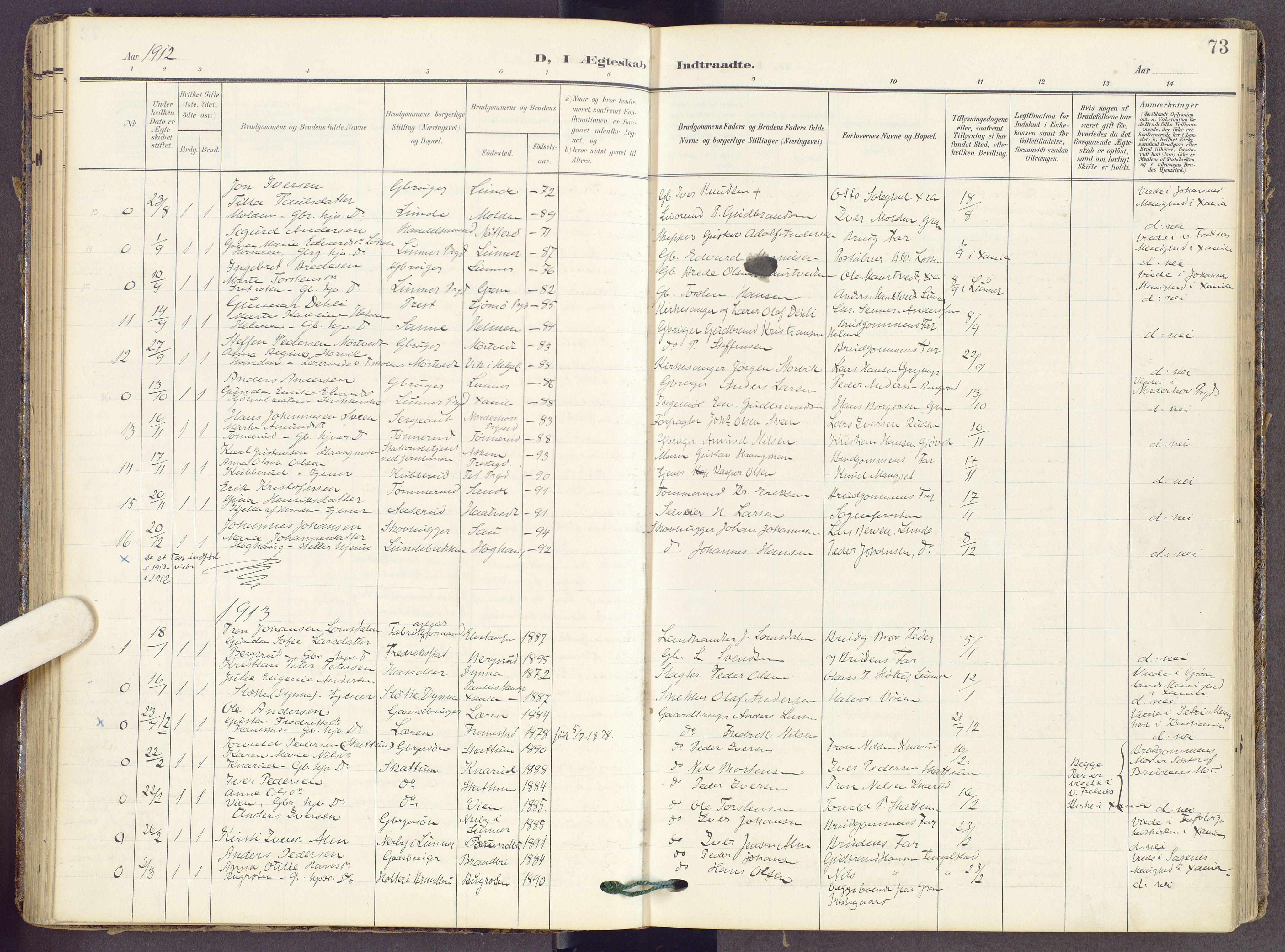 SAH, Gran prestekontor, Ministerialbok nr. 22, 1908-1918, s. 73