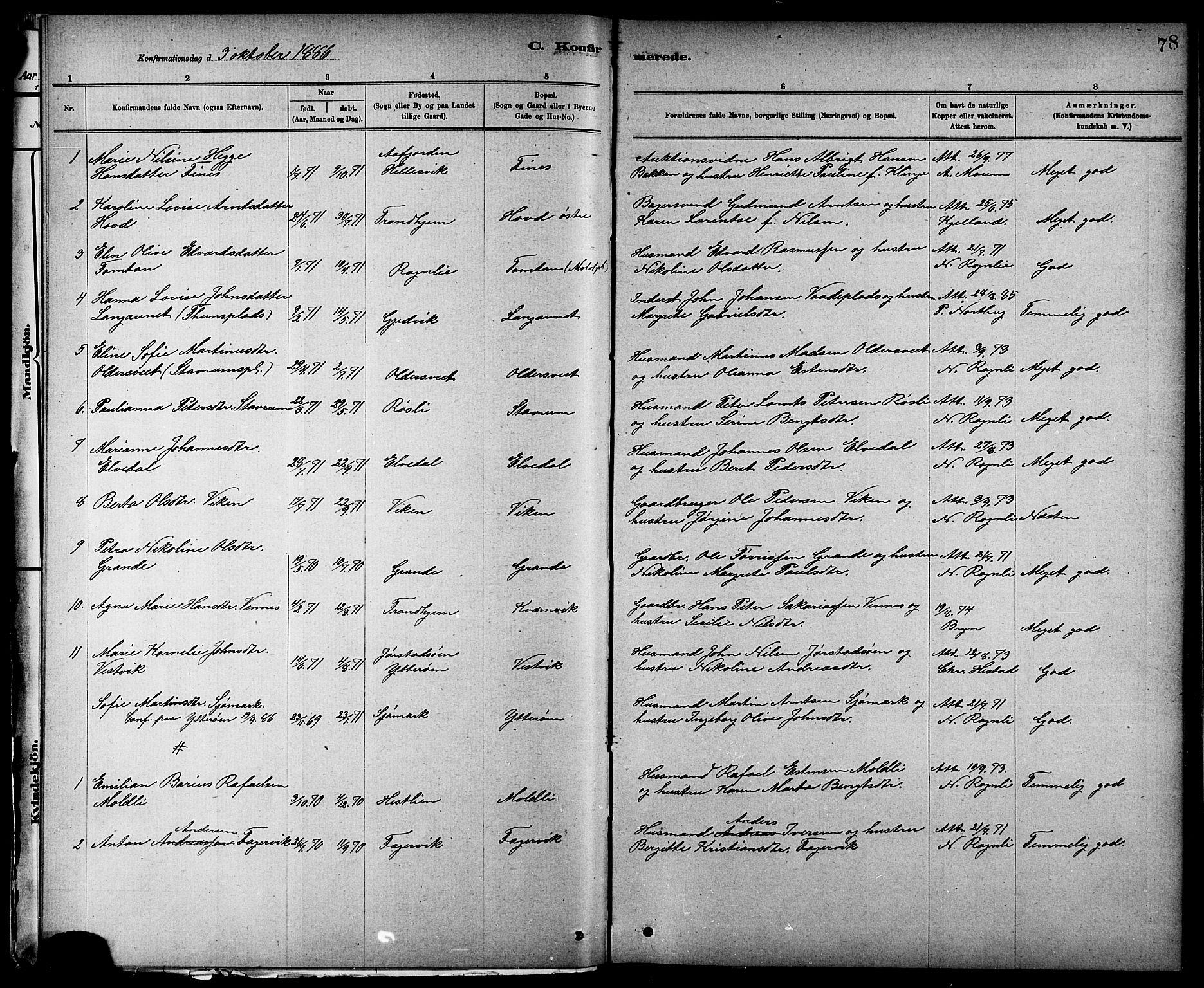 SAT, Ministerialprotokoller, klokkerbøker og fødselsregistre - Nord-Trøndelag, 744/L0423: Klokkerbok nr. 744C02, 1886-1905, s. 78