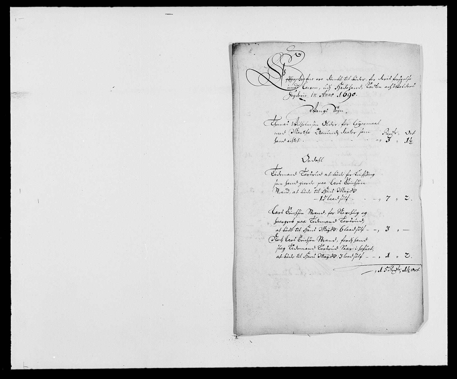 RA, Rentekammeret inntil 1814, Reviderte regnskaper, Fogderegnskap, R18/L1289: Fogderegnskap Hadeland, Toten og Valdres, 1690, s. 61