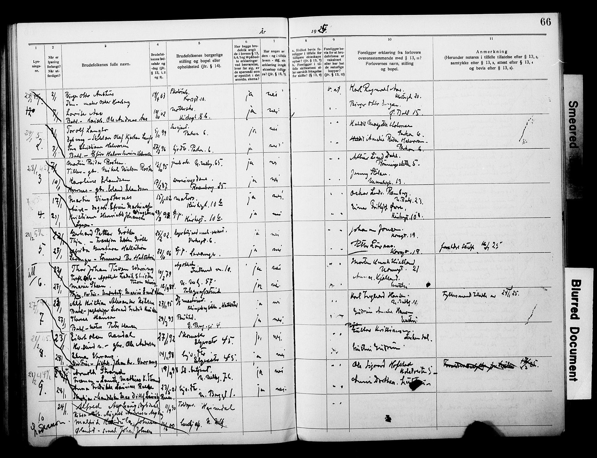 SAT, Ministerialprotokoller, klokkerbøker og fødselsregistre - Sør-Trøndelag, 604/L0196: Lysningsprotokoll nr. 604A17, 1919-1927, s. 66