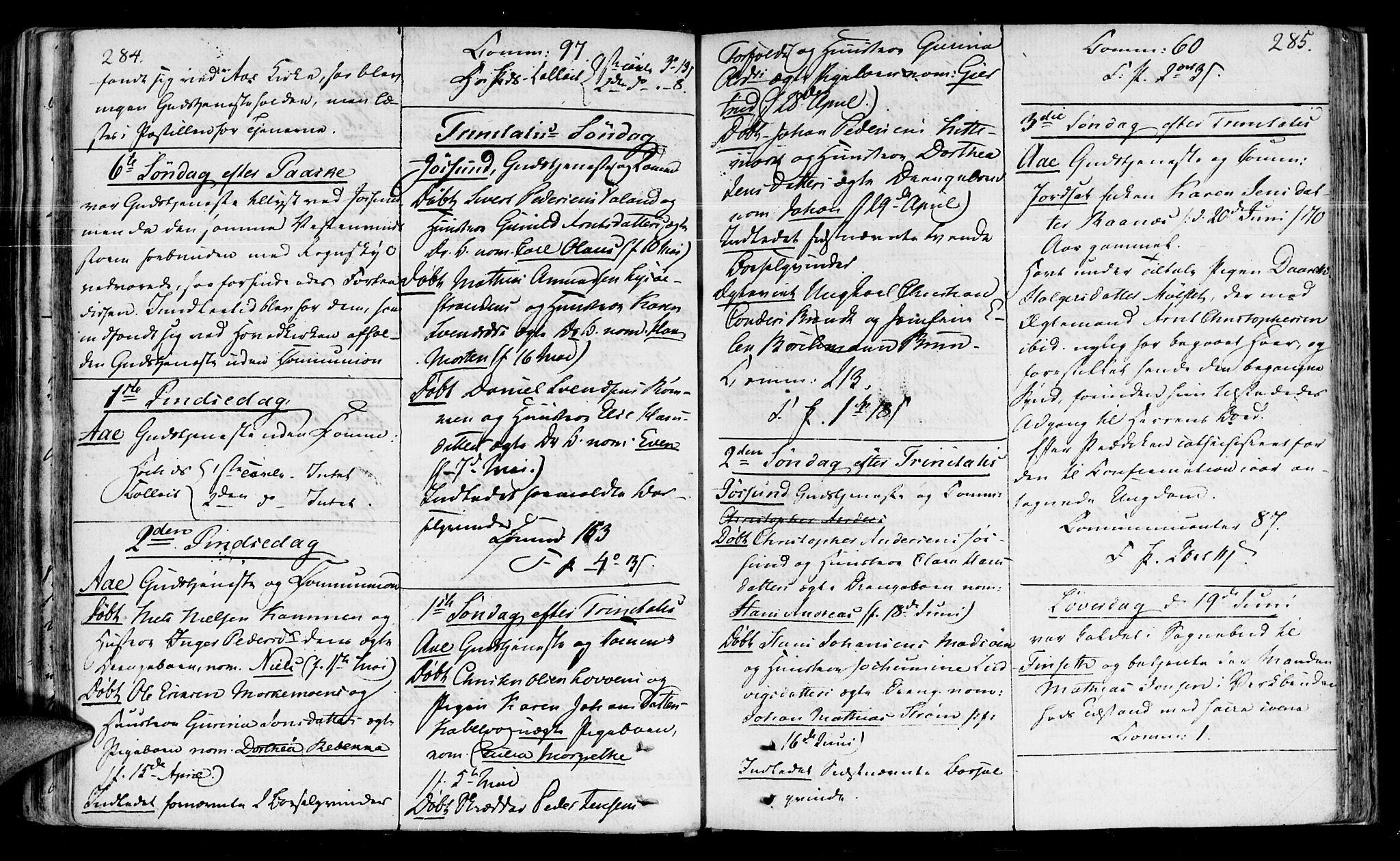 SAT, Ministerialprotokoller, klokkerbøker og fødselsregistre - Sør-Trøndelag, 655/L0674: Ministerialbok nr. 655A03, 1802-1826, s. 284-285