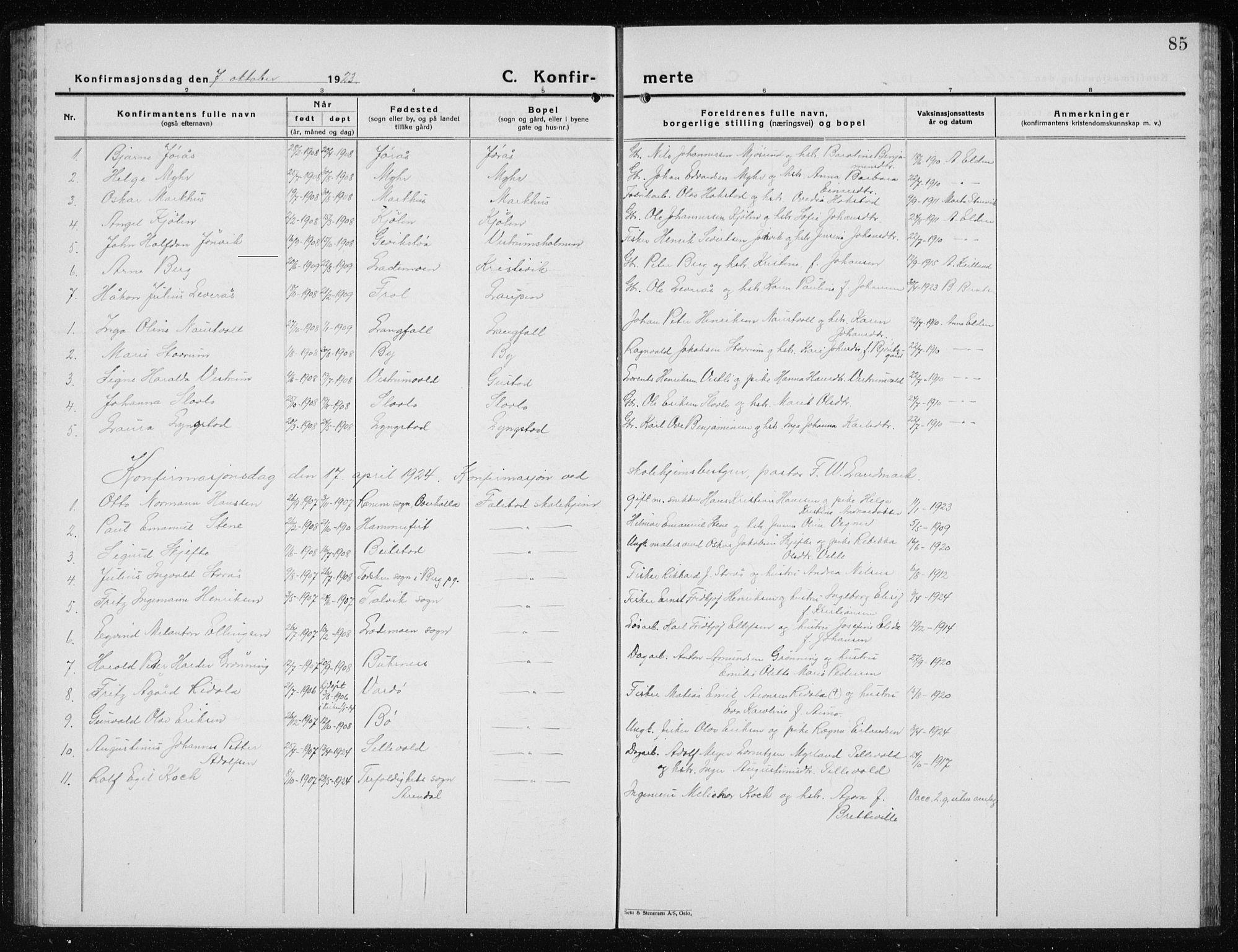 SAT, Ministerialprotokoller, klokkerbøker og fødselsregistre - Nord-Trøndelag, 719/L0180: Klokkerbok nr. 719C01, 1878-1940, s. 85