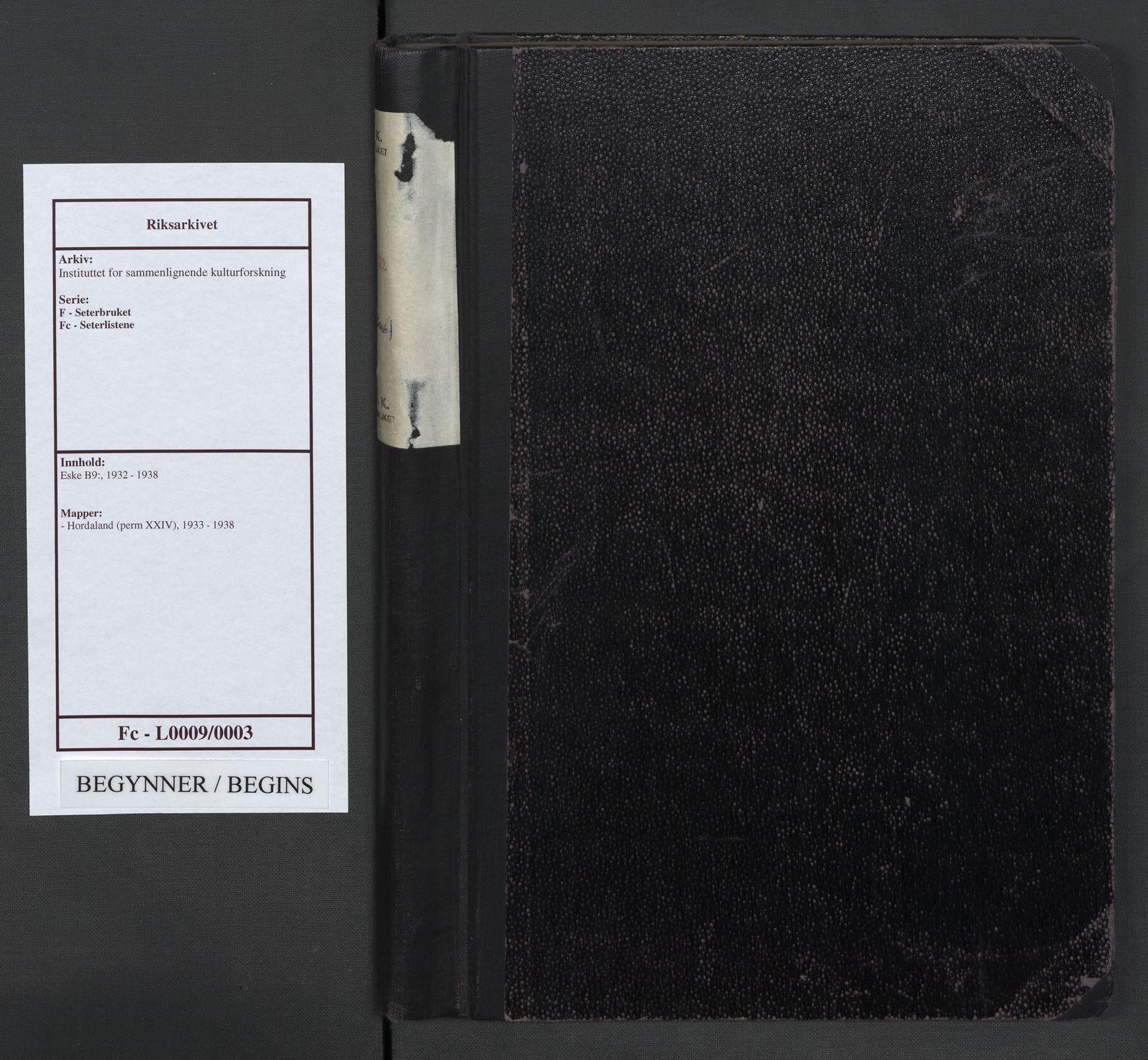 RA, Instituttet for sammenlignende kulturforskning, F/Fc/L0009: Eske B9:, 1933-1938, s. upaginert