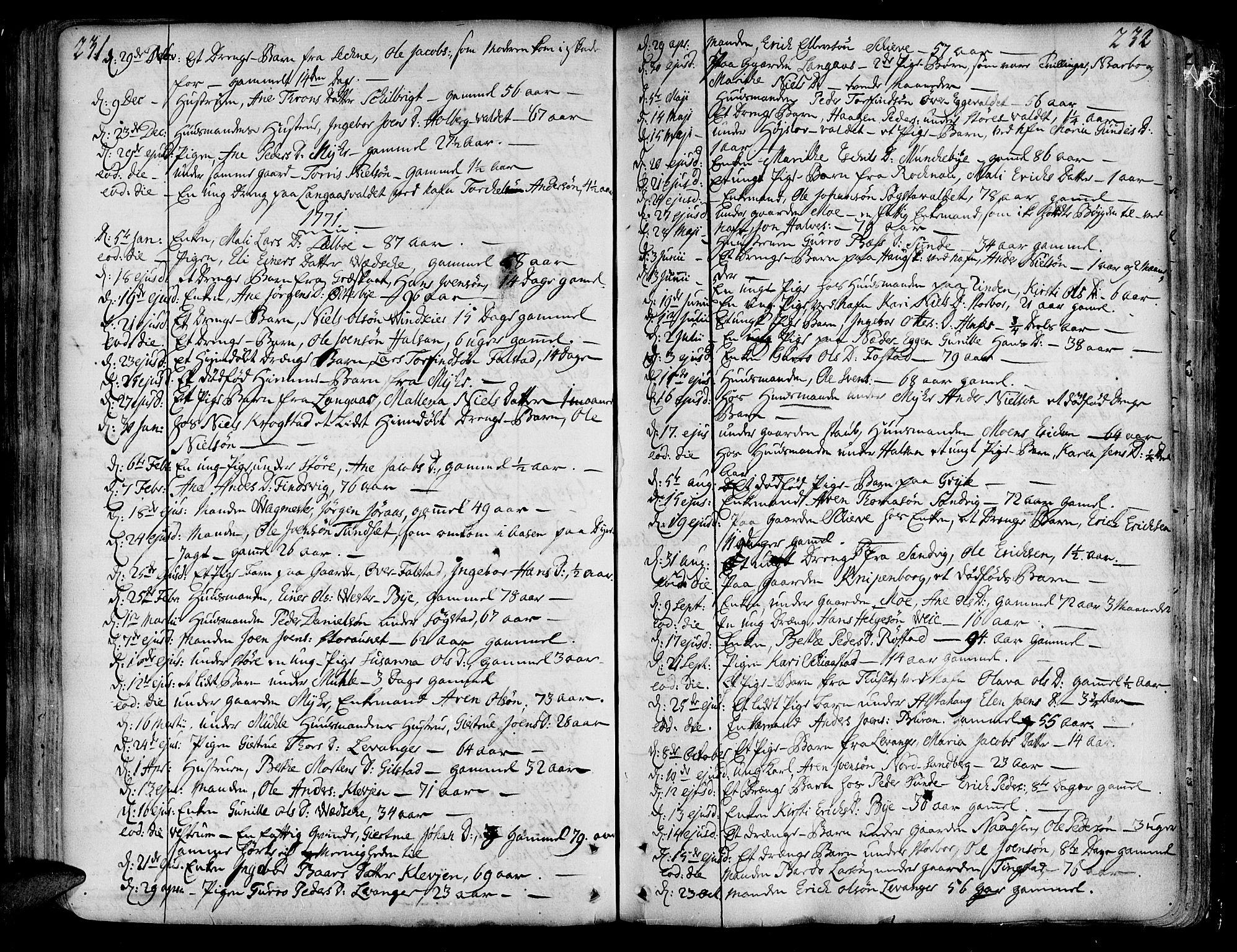 SAT, Ministerialprotokoller, klokkerbøker og fødselsregistre - Nord-Trøndelag, 717/L0141: Ministerialbok nr. 717A01, 1747-1803, s. 231-232