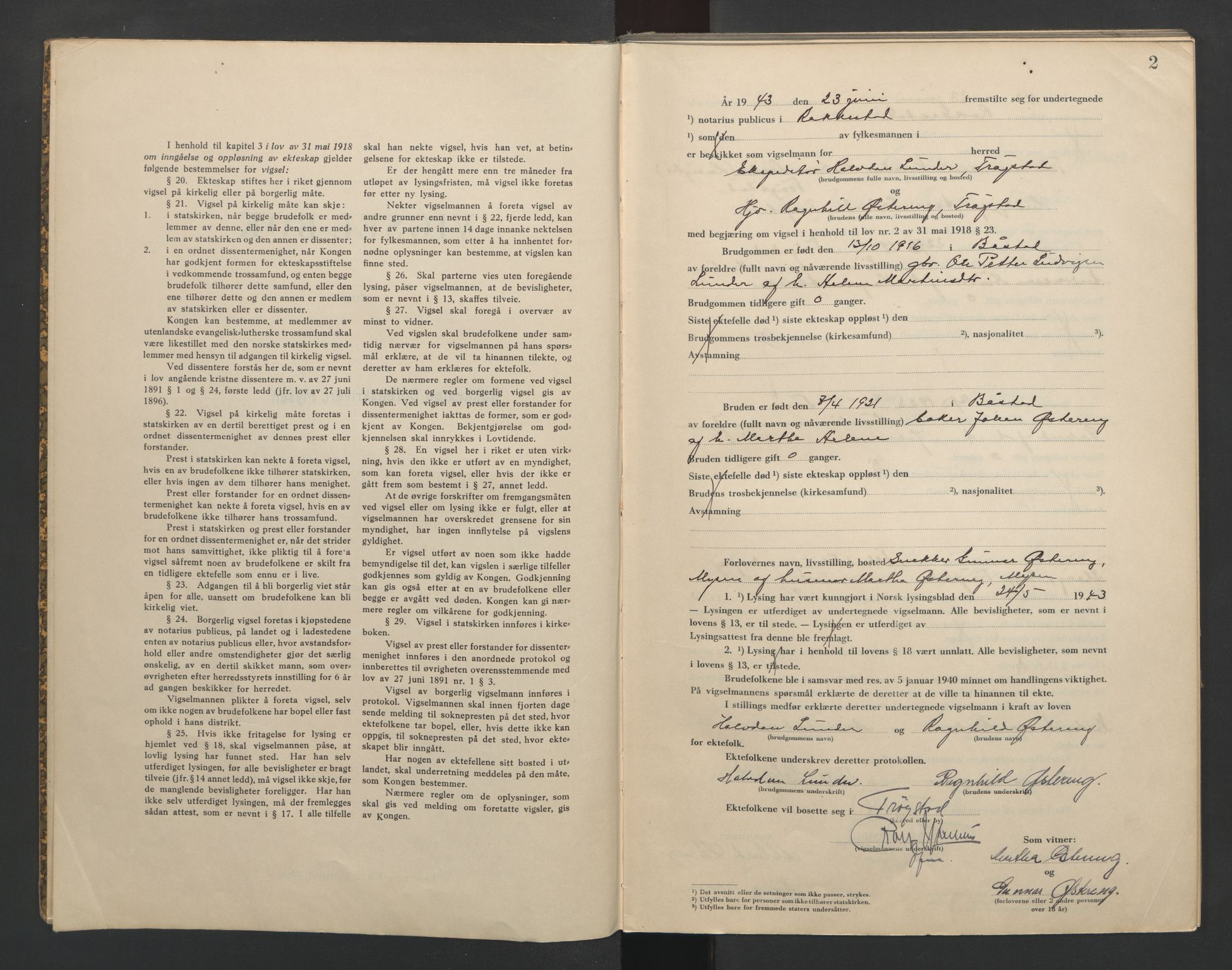 SAO, Rakkestad sorenskriveri, L/Lc/Lca/L0003: Vigselbøker, 1943-1944, s. 2