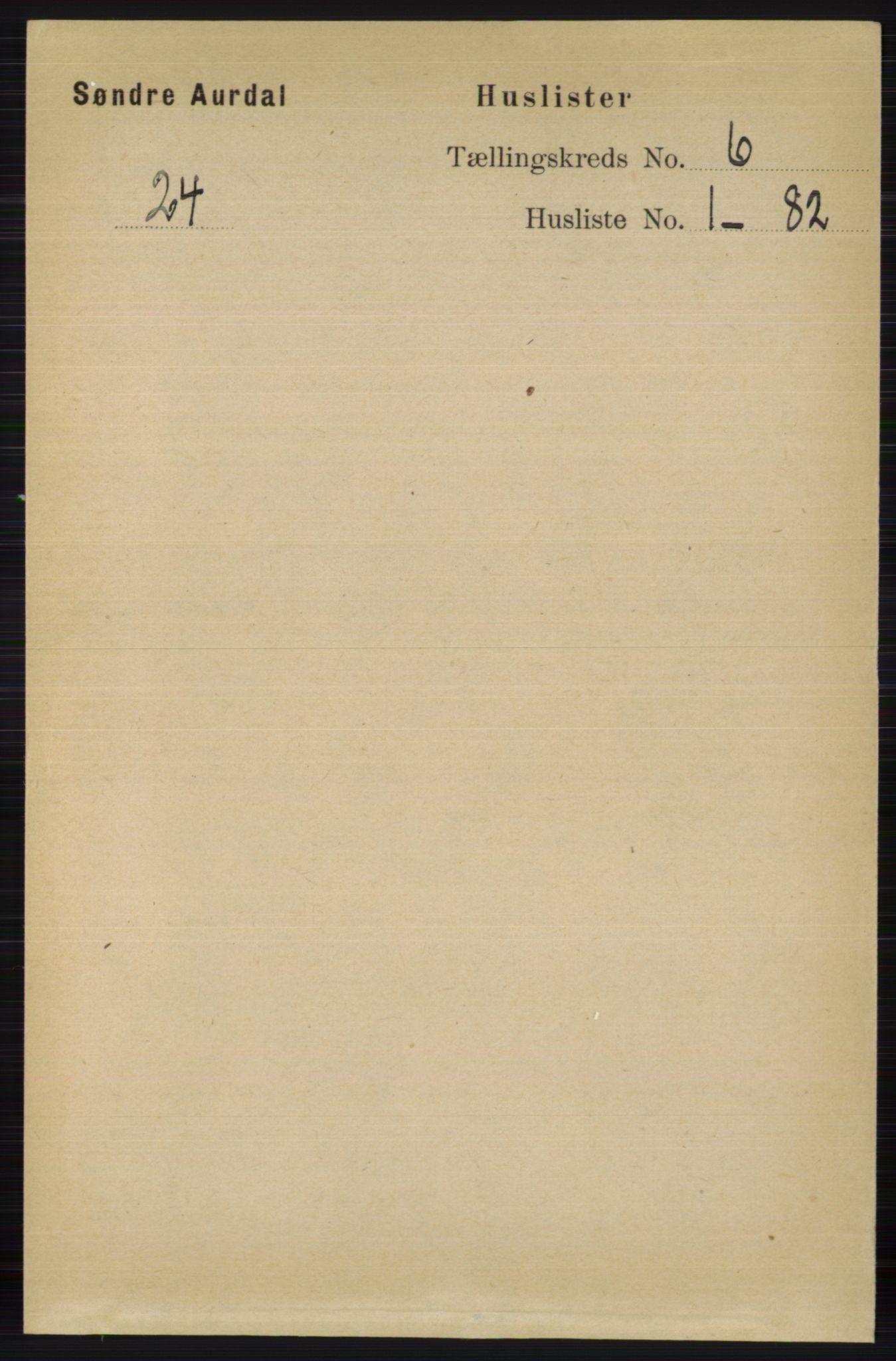 RA, Folketelling 1891 for 0540 Sør-Aurdal herred, 1891, s. 3726