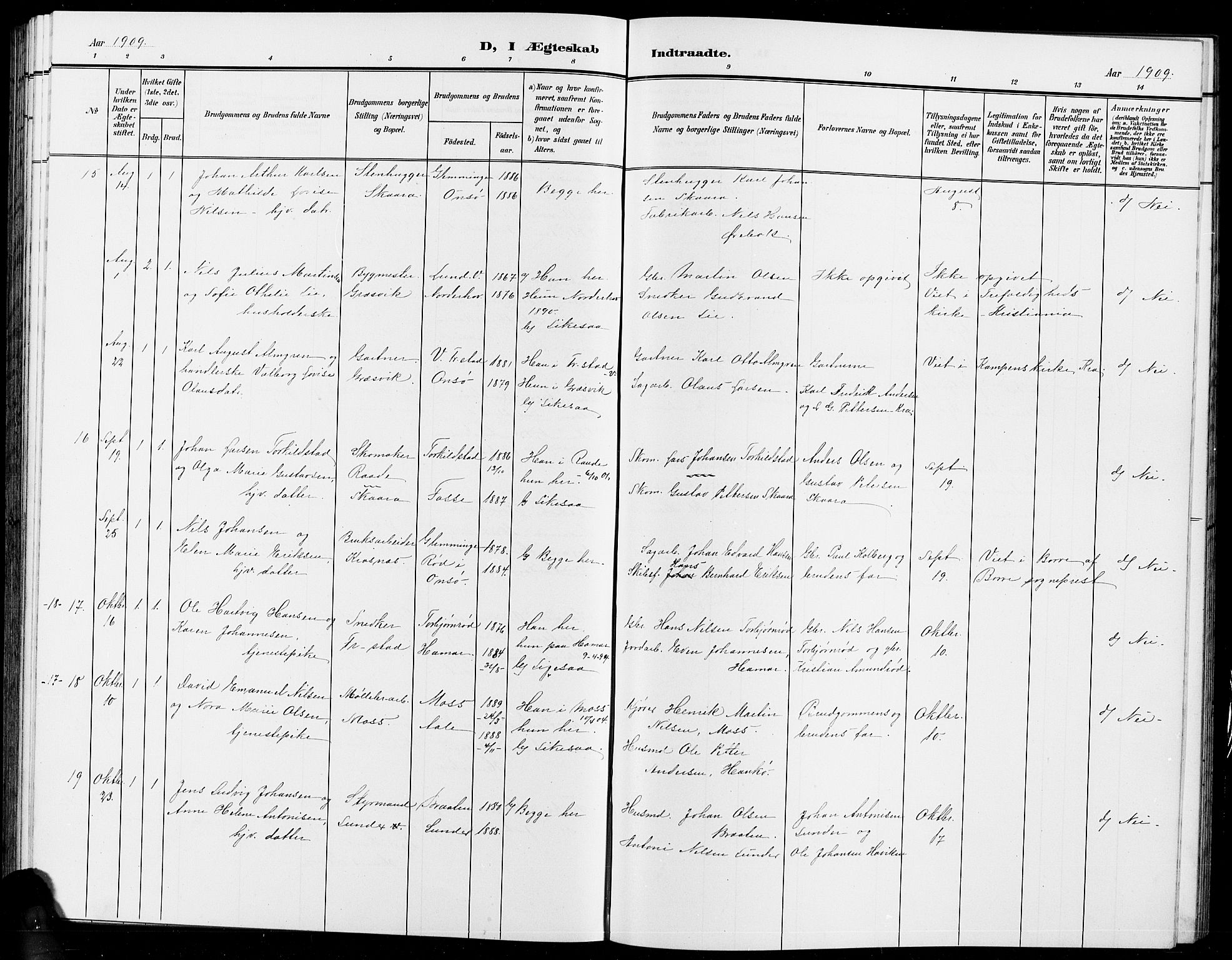 SAO, Onsøy prestekontor Kirkebøker, G/Ga/L0002: Klokkerbok nr. I 2, 1903-1909