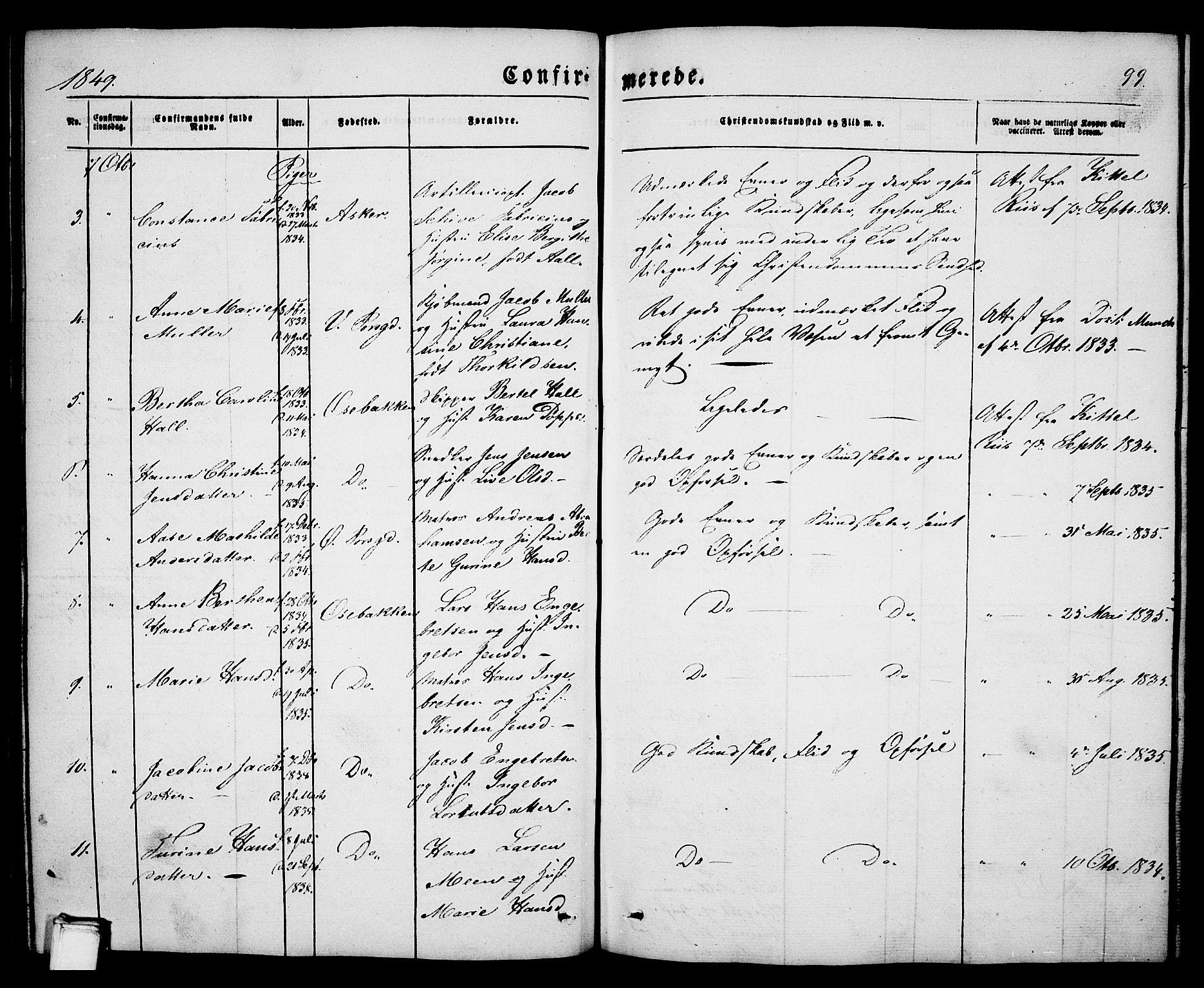SAKO, Porsgrunn kirkebøker , G/Ga/L0002: Klokkerbok nr. I 2, 1847-1877, s. 99