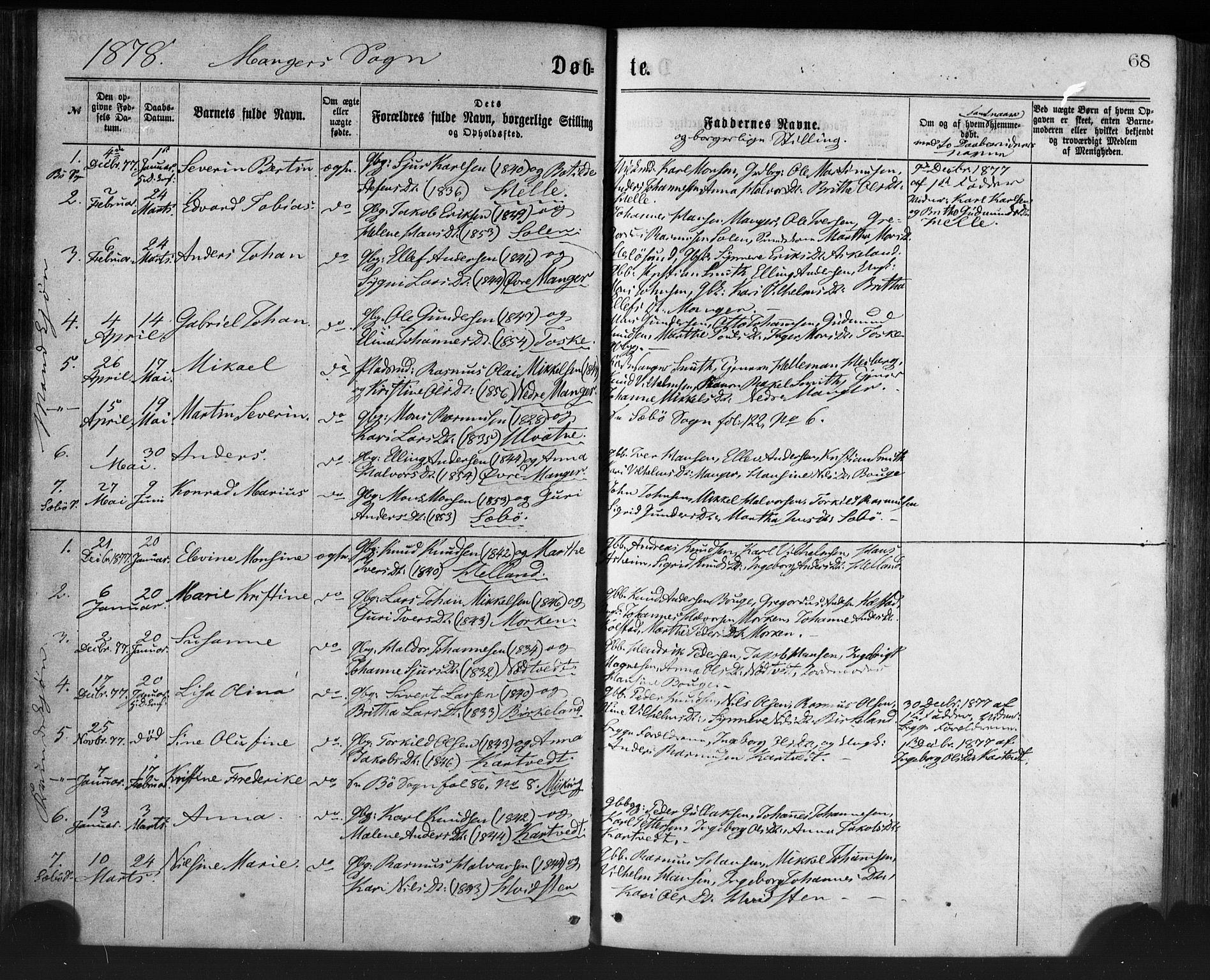 SAB, Manger sokneprestembete, H/Haa: Ministerialbok nr. A 8, 1871-1880, s. 68