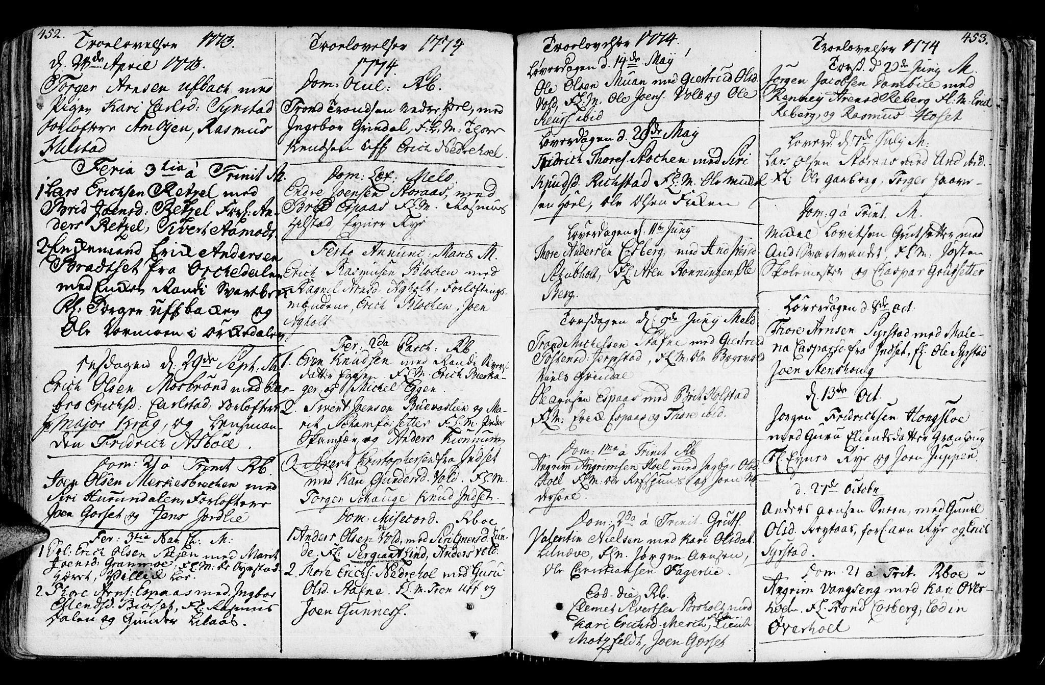 SAT, Ministerialprotokoller, klokkerbøker og fødselsregistre - Sør-Trøndelag, 672/L0851: Ministerialbok nr. 672A04, 1751-1775, s. 452-453