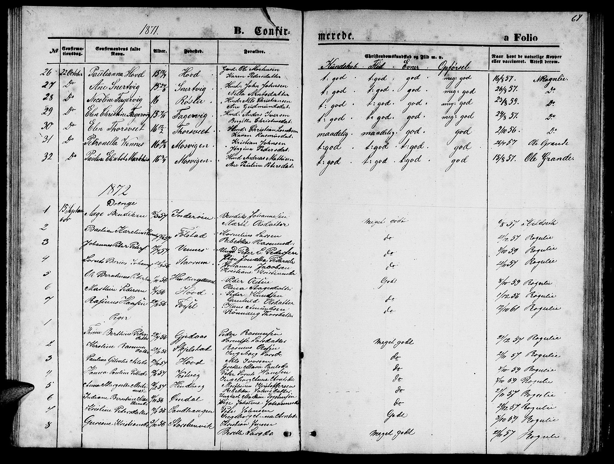 SAT, Ministerialprotokoller, klokkerbøker og fødselsregistre - Nord-Trøndelag, 744/L0422: Klokkerbok nr. 744C01, 1871-1885, s. 67