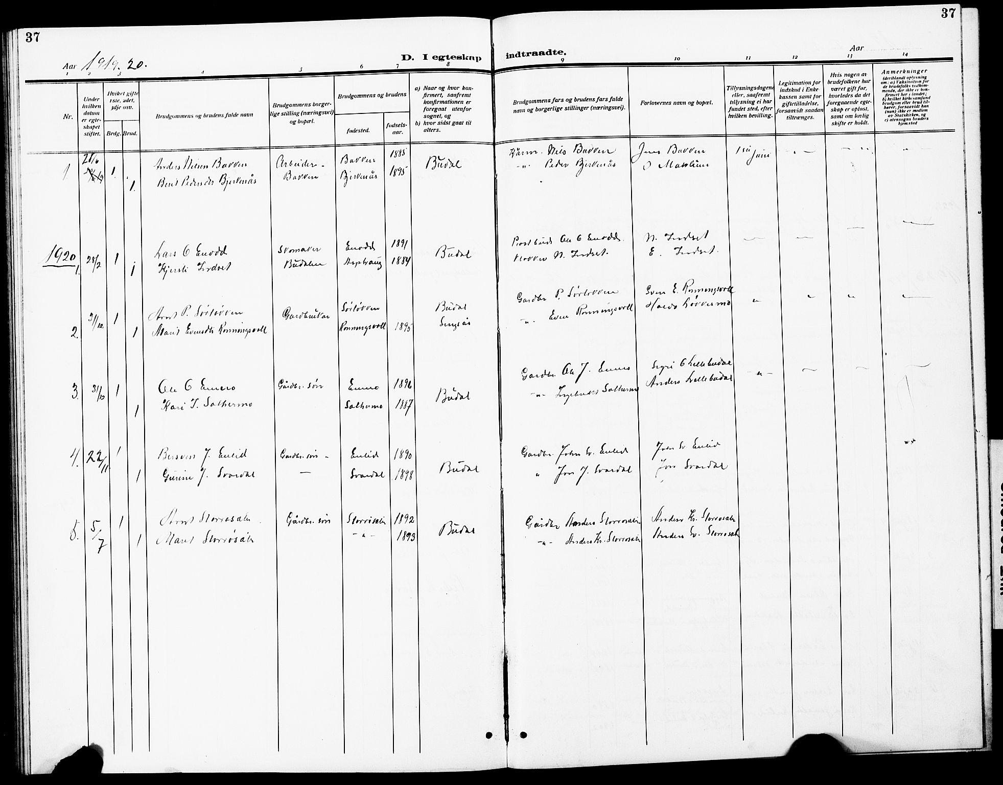 SAT, Ministerialprotokoller, klokkerbøker og fødselsregistre - Sør-Trøndelag, 690/L1052: Klokkerbok nr. 690C02, 1907-1929, s. 37