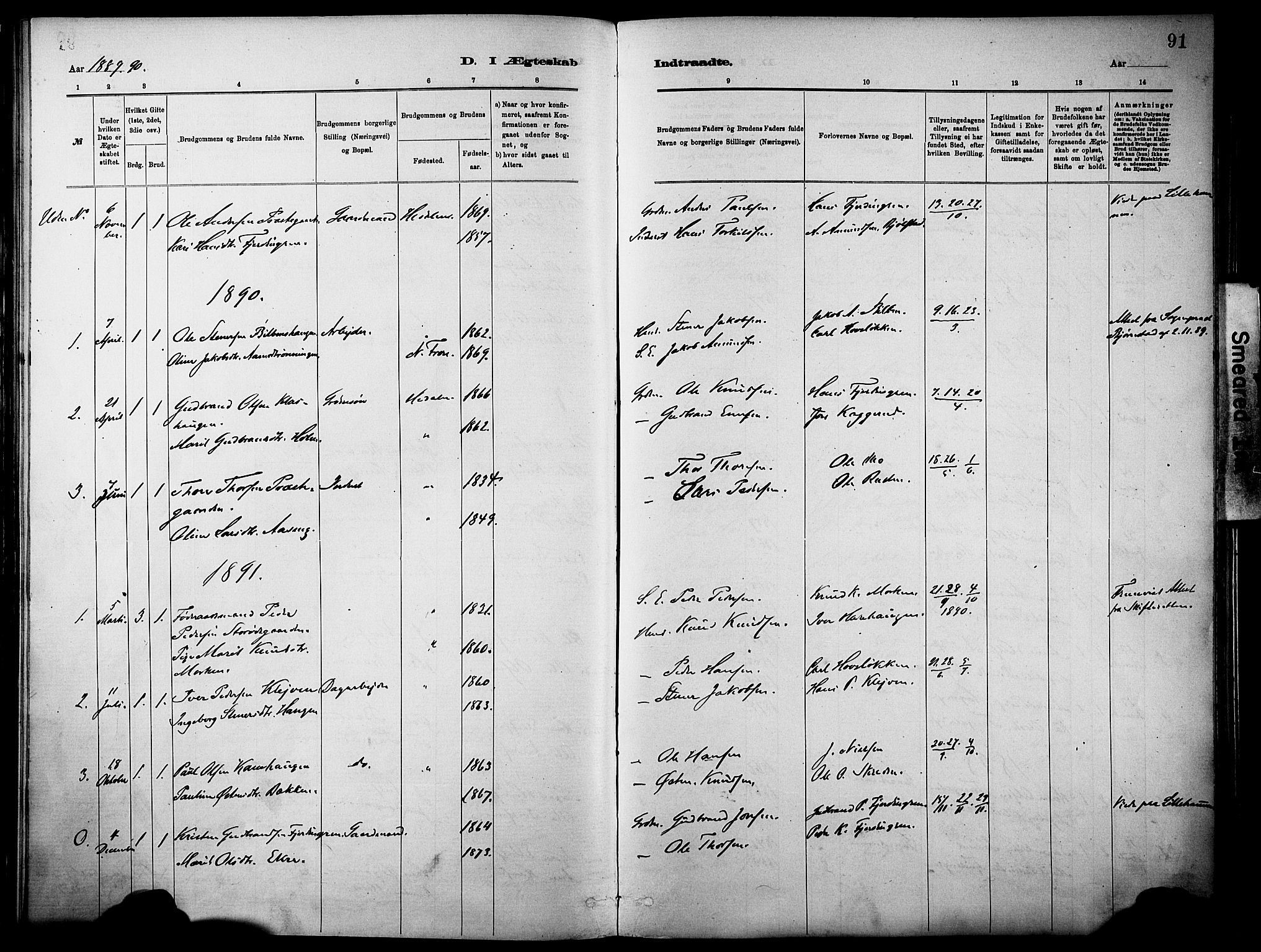 SAH, Vågå prestekontor, Ministerialbok nr. 10, 1887-1904, s. 91