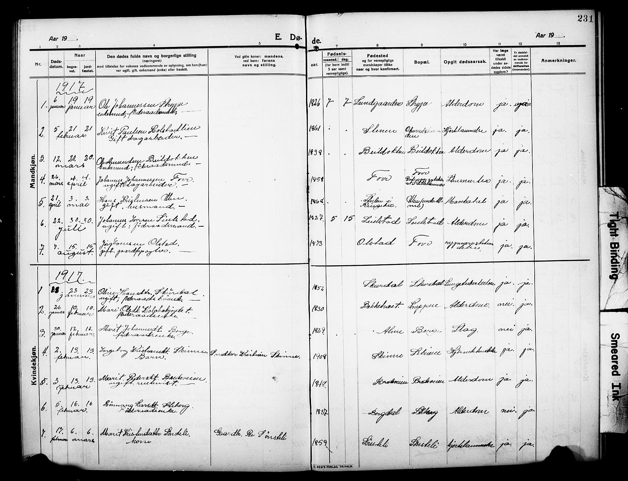 SAH, Sør-Fron prestekontor, H/Ha/Hab/L0005: Klokkerbok nr. 5, 1912-1930, s. 231