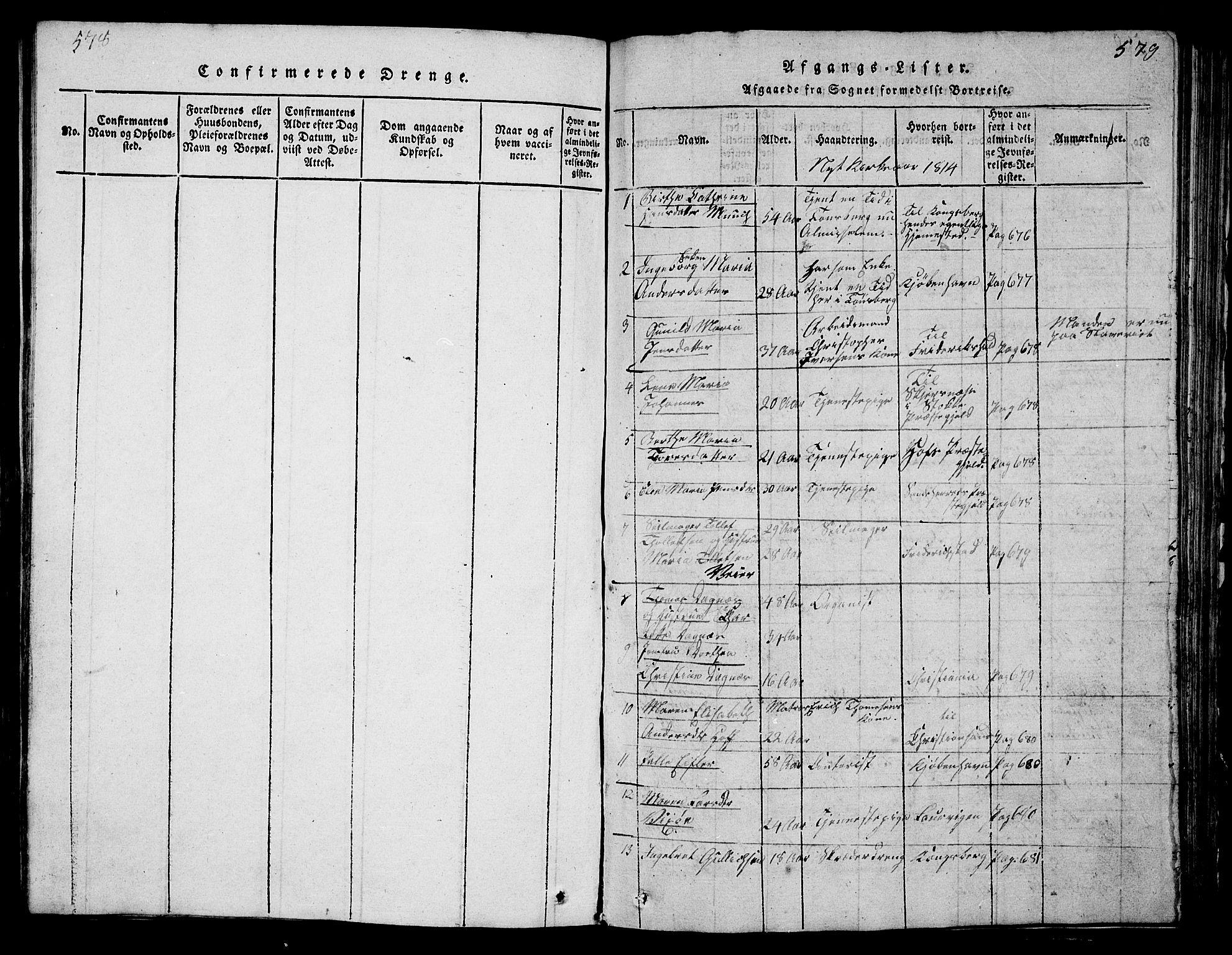SAKO, Tønsberg kirkebøker, G/Ga/L0001: Klokkerbok nr. 1, 1813-1826, s. 578-579