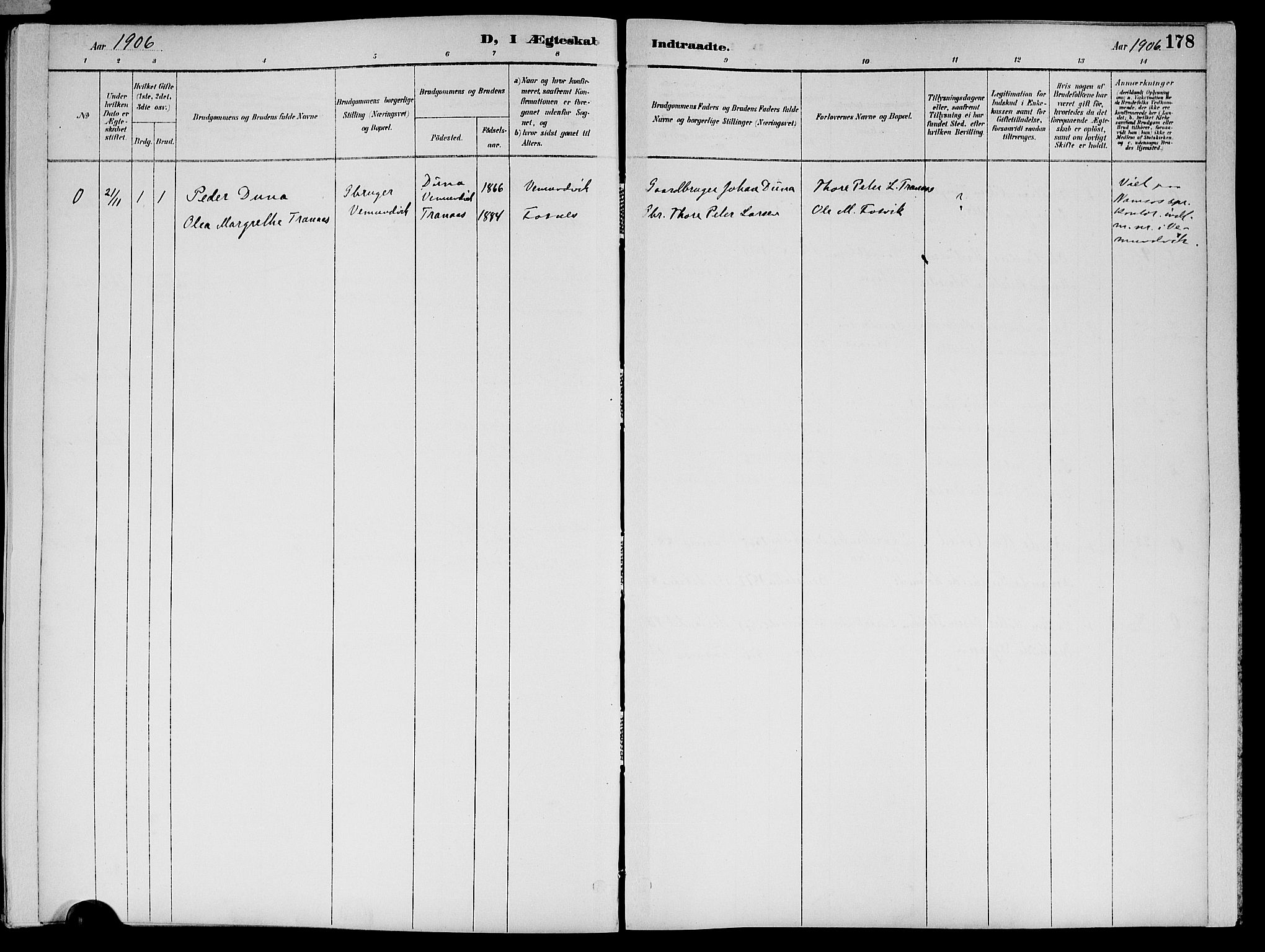 SAT, Ministerialprotokoller, klokkerbøker og fødselsregistre - Nord-Trøndelag, 773/L0617: Ministerialbok nr. 773A08, 1887-1910, s. 178