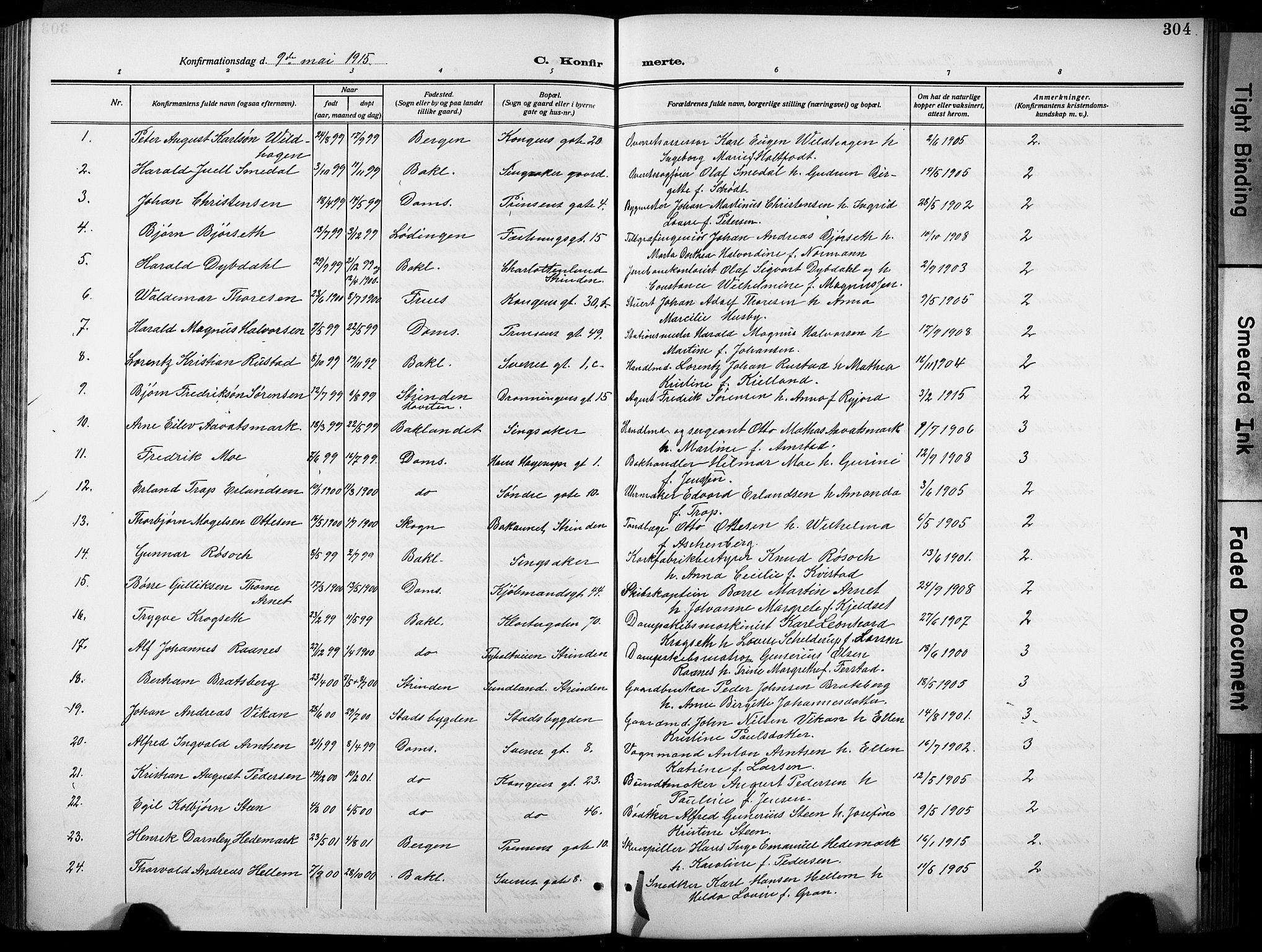 SAT, Ministerialprotokoller, klokkerbøker og fødselsregistre - Sør-Trøndelag, 601/L0096: Klokkerbok nr. 601C14, 1911-1931, s. 304