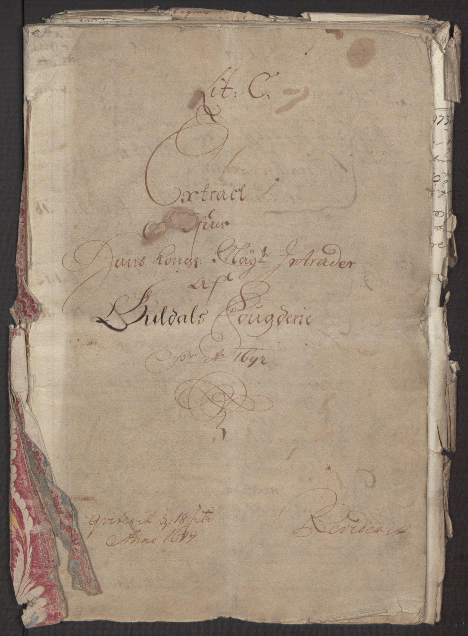 RA, Rentekammeret inntil 1814, Reviderte regnskaper, Fogderegnskap, R59/L3942: Fogderegnskap Gauldal, 1692, s. 3