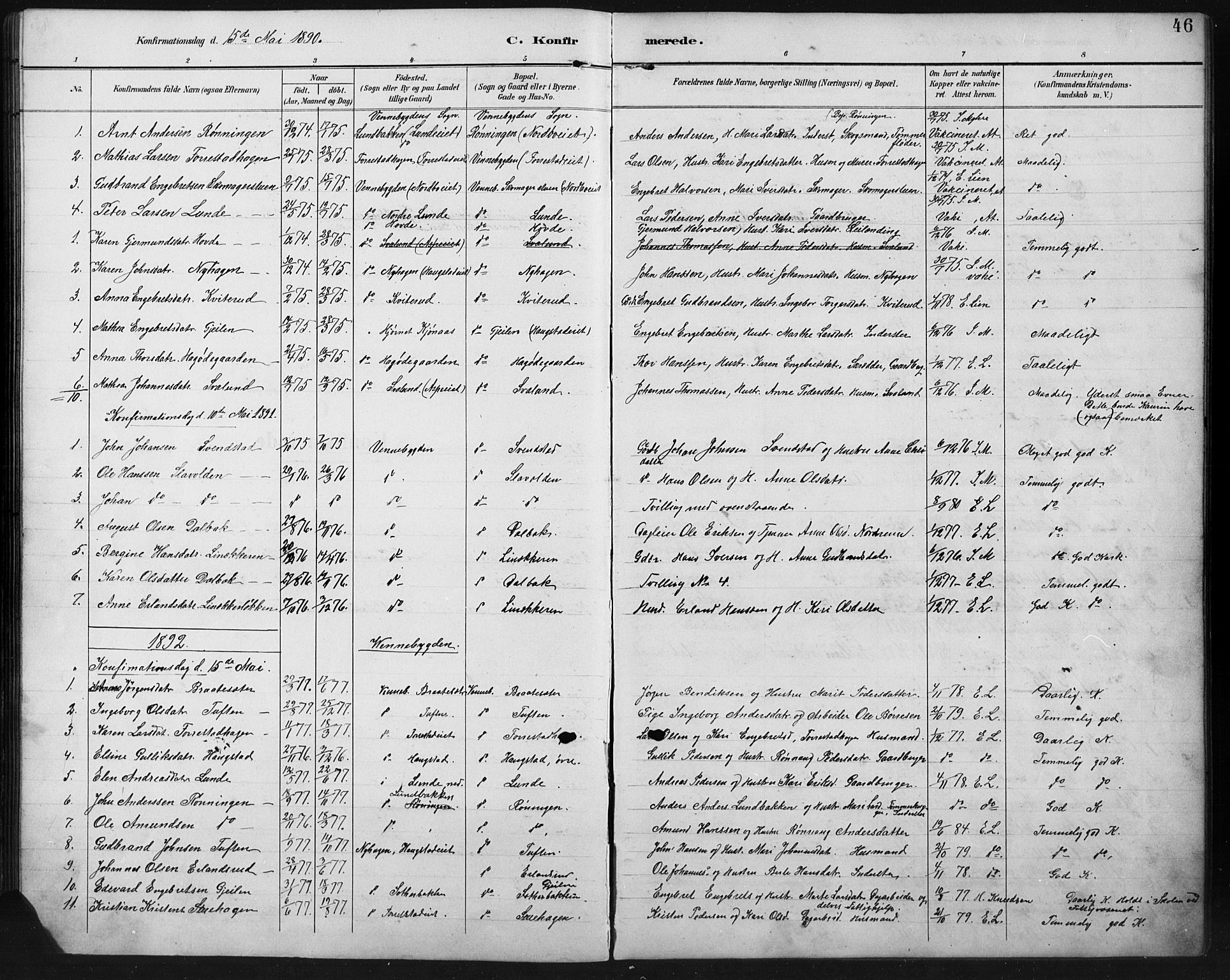 SAH, Ringebu prestekontor, Klokkerbok nr. 8, 1890-1922, s. 46