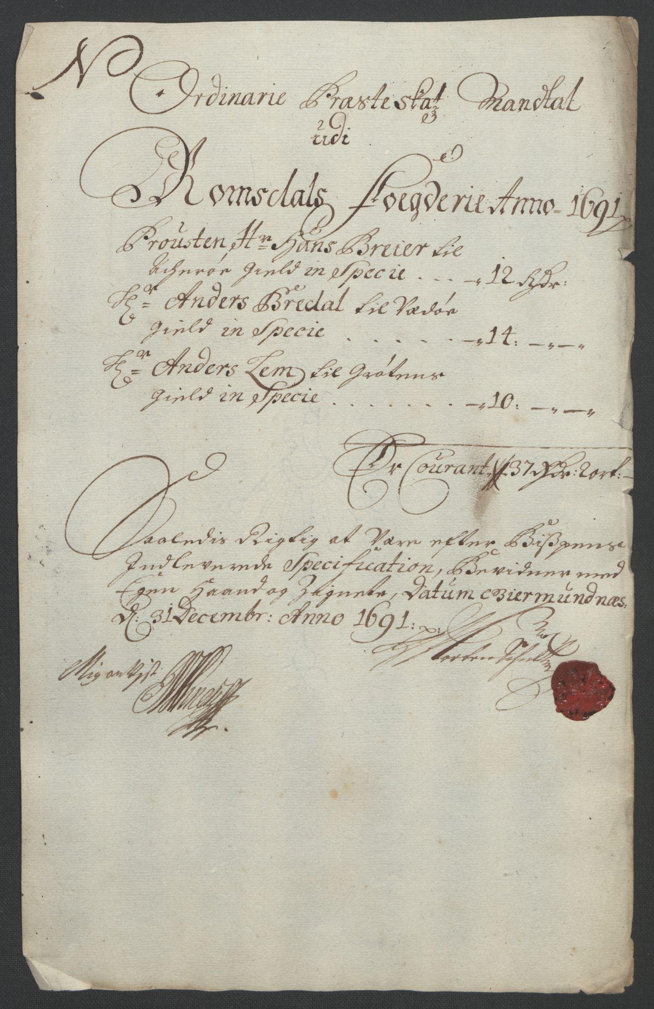 RA, Rentekammeret inntil 1814, Reviderte regnskaper, Fogderegnskap, R55/L3649: Fogderegnskap Romsdal, 1690-1691, s. 332