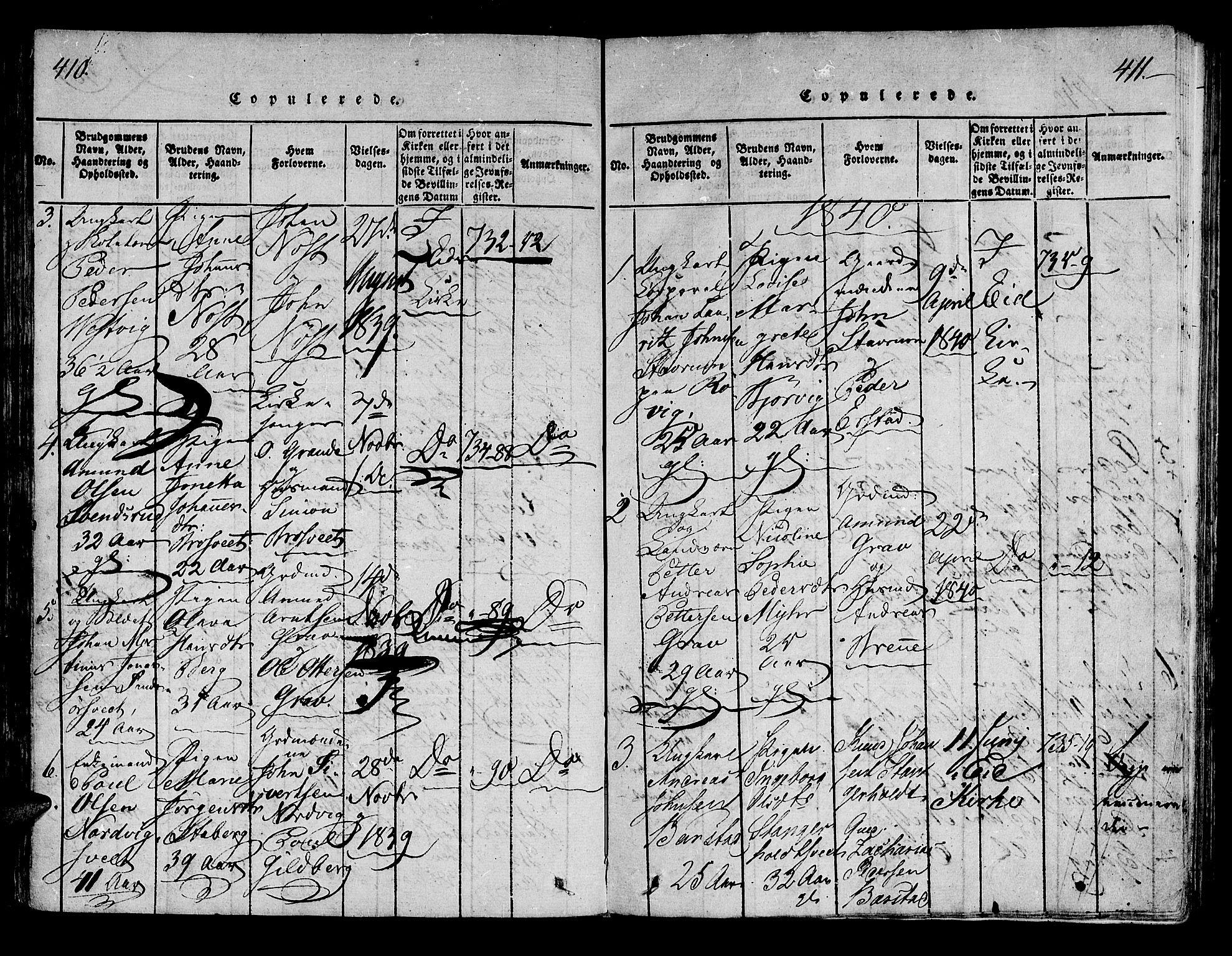 SAT, Ministerialprotokoller, klokkerbøker og fødselsregistre - Nord-Trøndelag, 722/L0217: Ministerialbok nr. 722A04, 1817-1842, s. 410-411