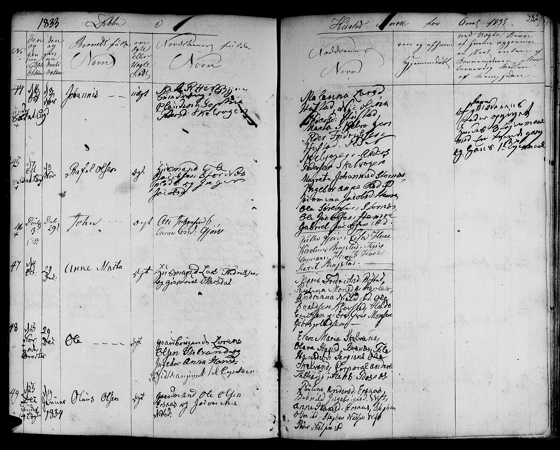 SAT, Ministerialprotokoller, klokkerbøker og fødselsregistre - Nord-Trøndelag, 730/L0277: Ministerialbok nr. 730A06 /3, 1830-1839, s. 382