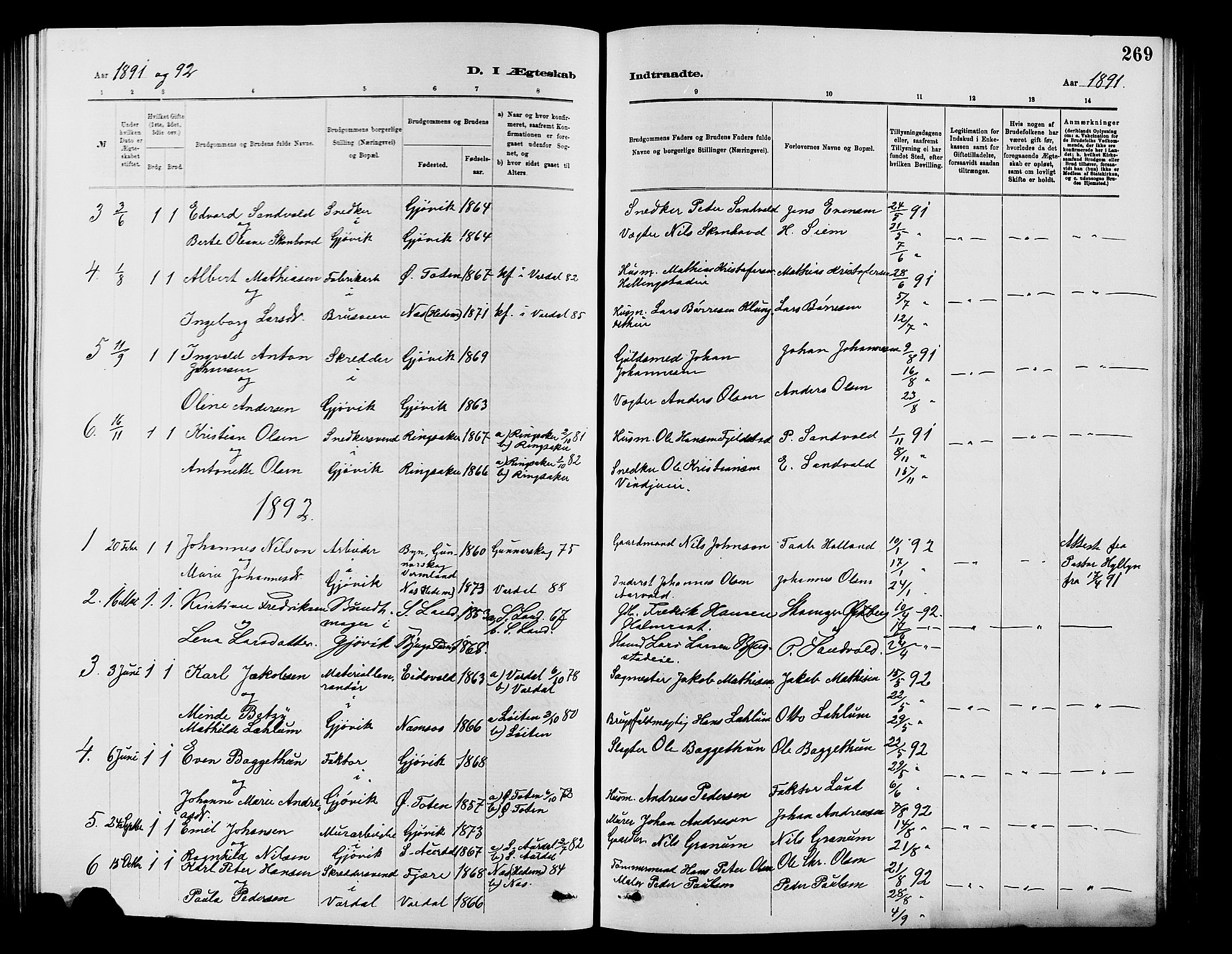 SAH, Vardal prestekontor, H/Ha/Hab/L0007: Klokkerbok nr. 7 /2, 1881-1895, s. 269